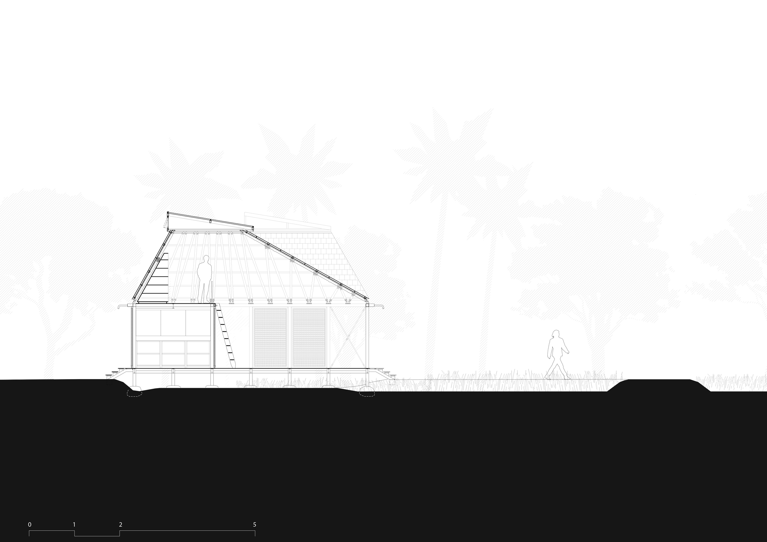 section drawing of stilted tool workshop at Artist Retreat Alibag