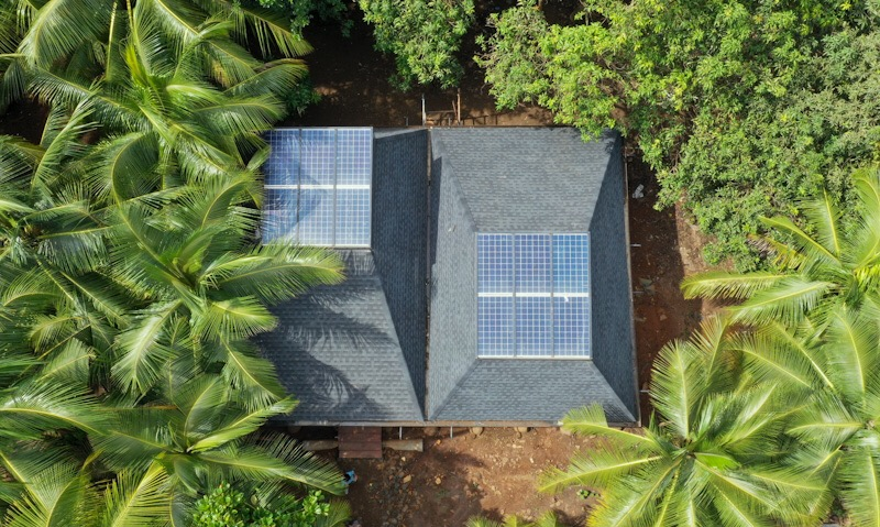 Roofs with solar panels at Mumbai Artist Retreat