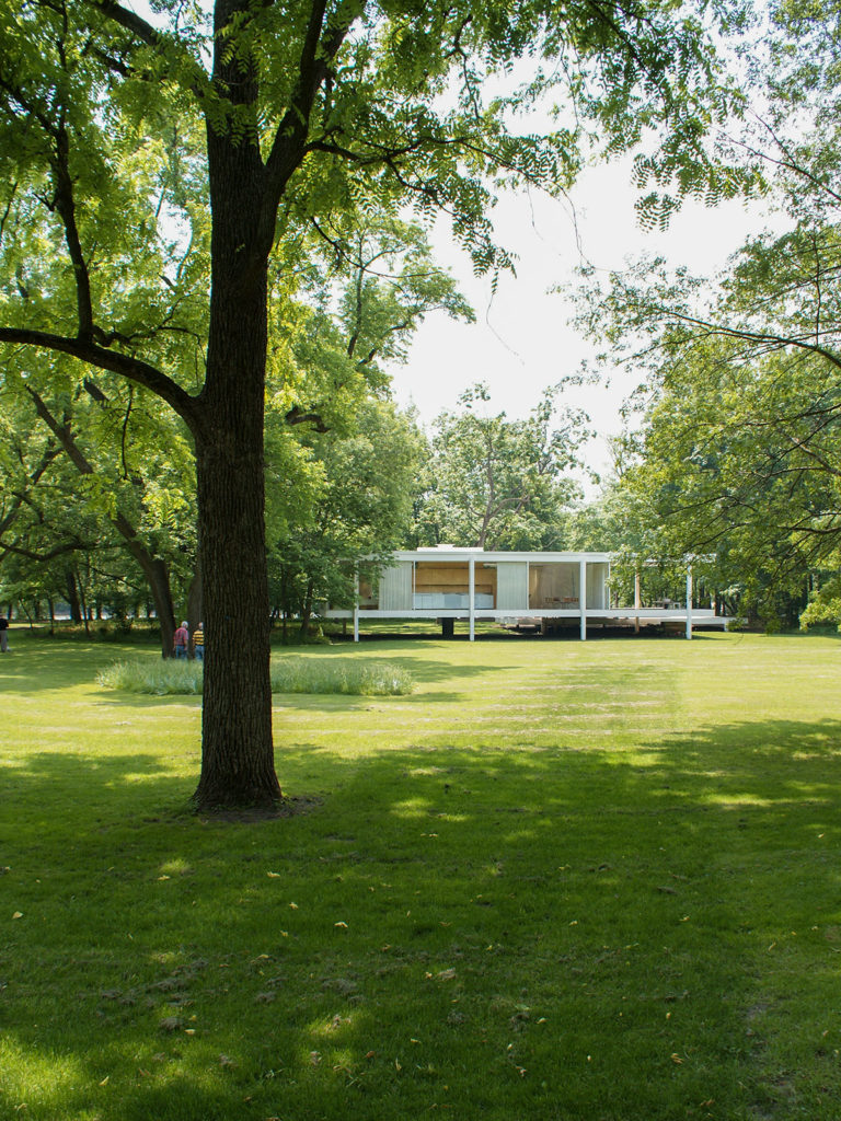 Farnsworth House in the background by Mies van der Rohe