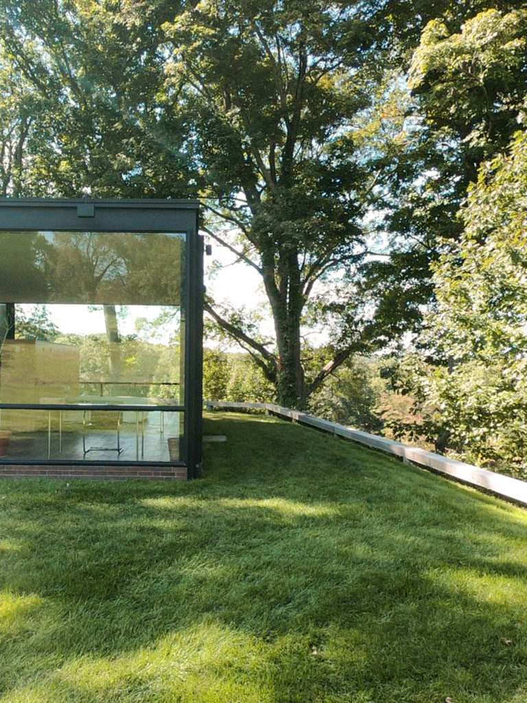 Part of glass facade of the Glass House by Philip Johnson in New Canaan