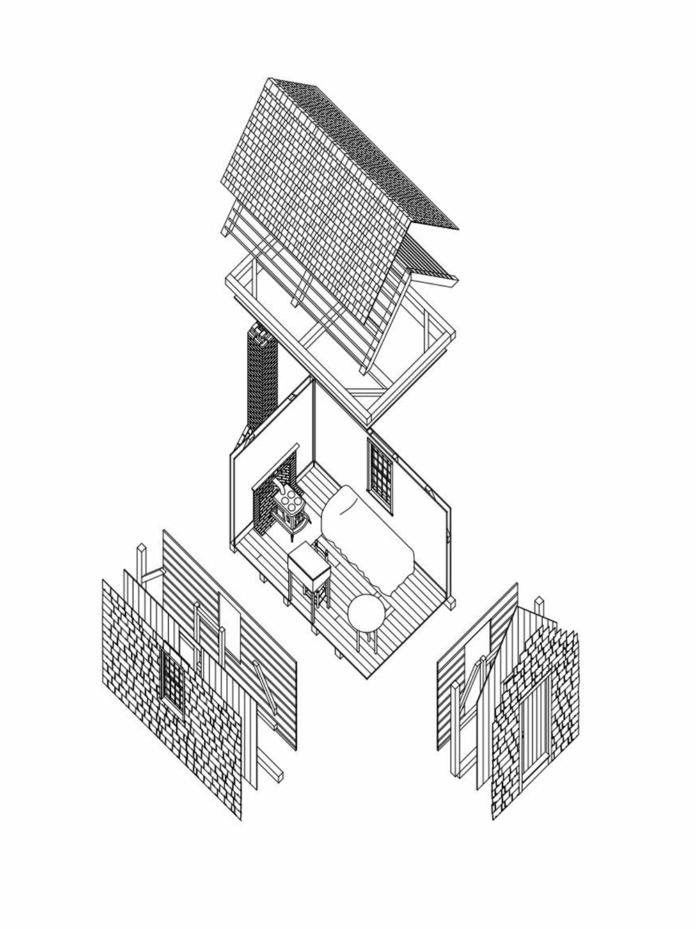 Coronavirus pandemic and claustrophobia: Axonometric of the Cabin at Walden Pond