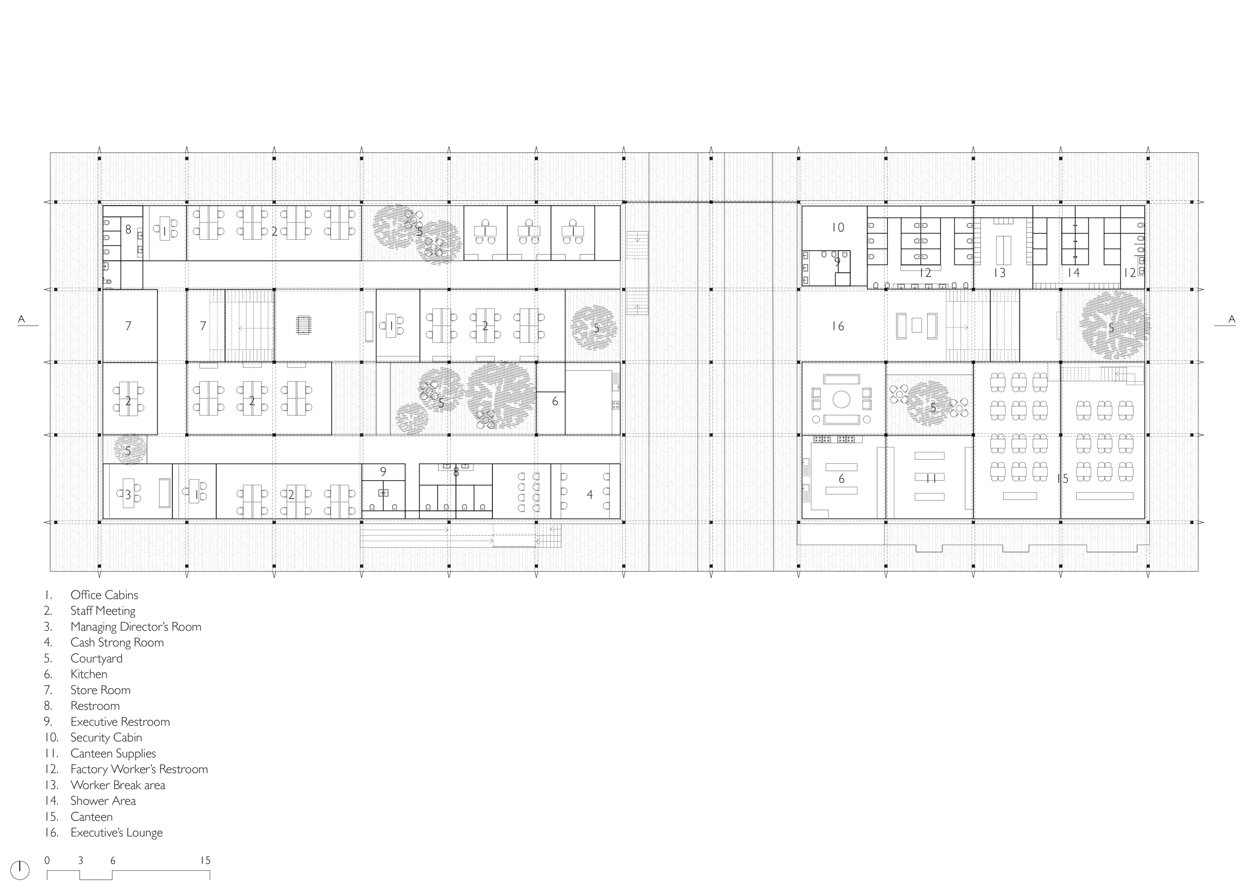 Lower Floor Plan of Administration Building in Latur, India