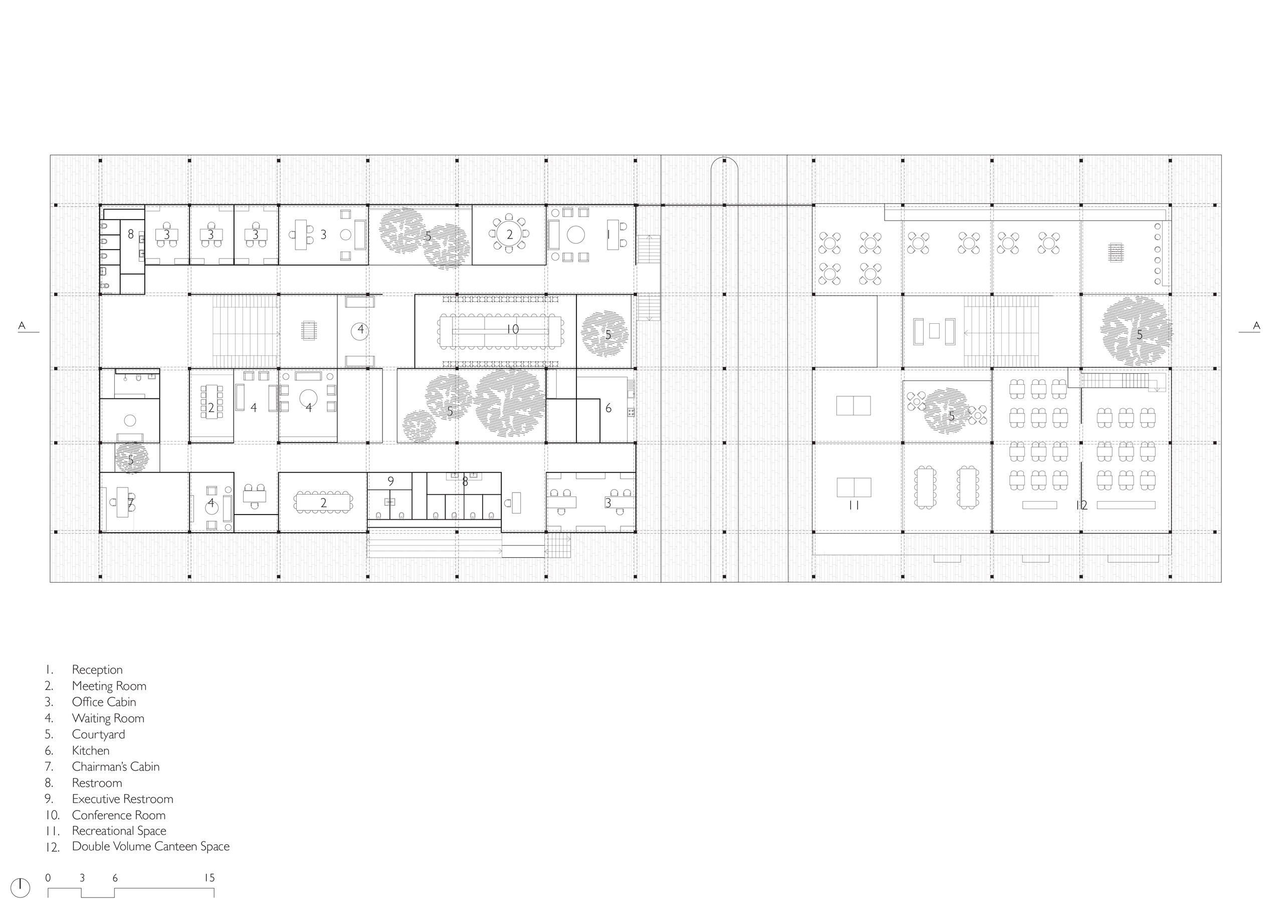 Upper Floor Plan of Administration Building in Latur, India