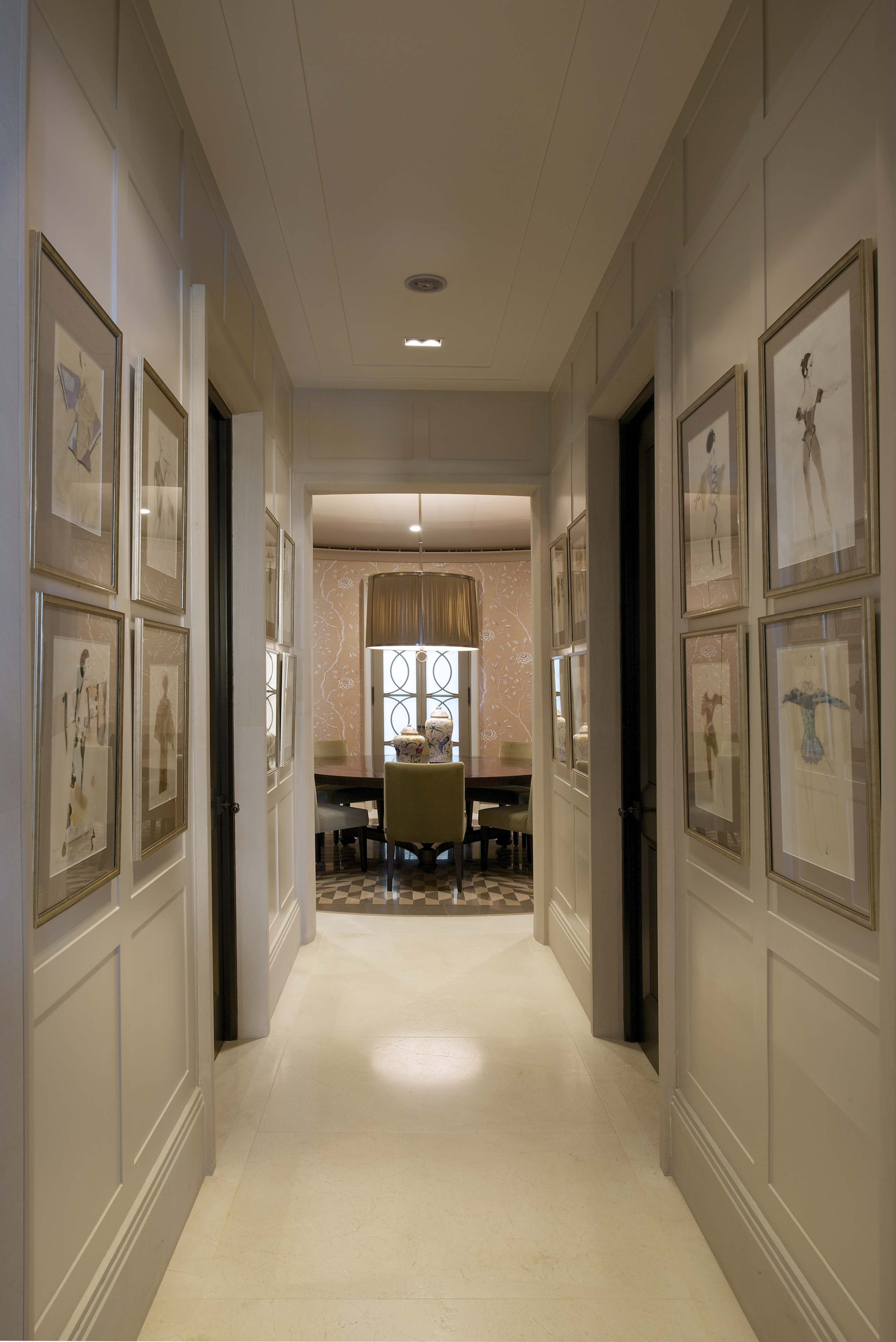 Panelled Corridor at duplex apartment interior design mumbai india