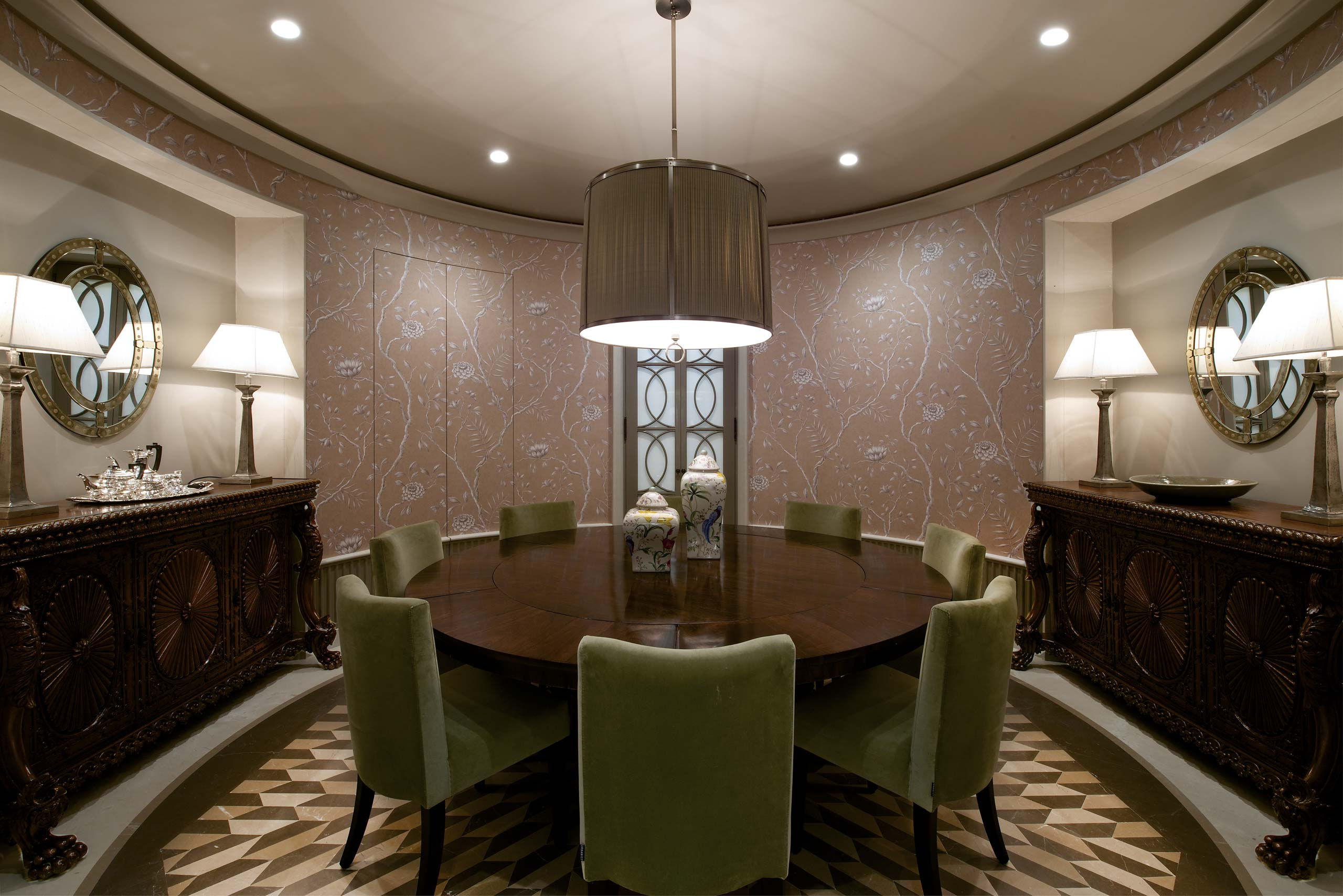 Circular Dining Room at duplex apartment interior design mumbai india