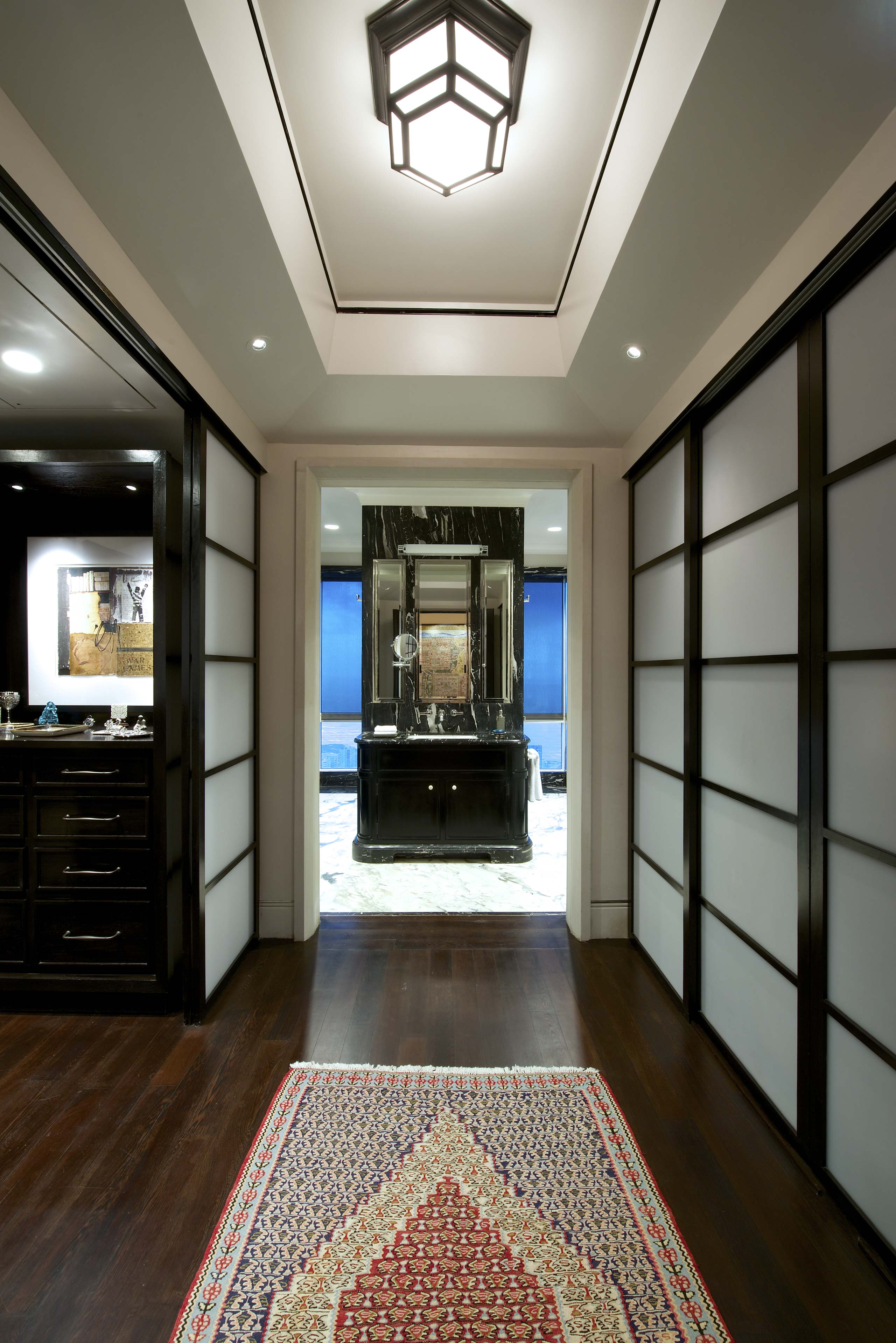 Master Bedroom Wardrobe sliding shutters at duplex apartment interior design mumbai india