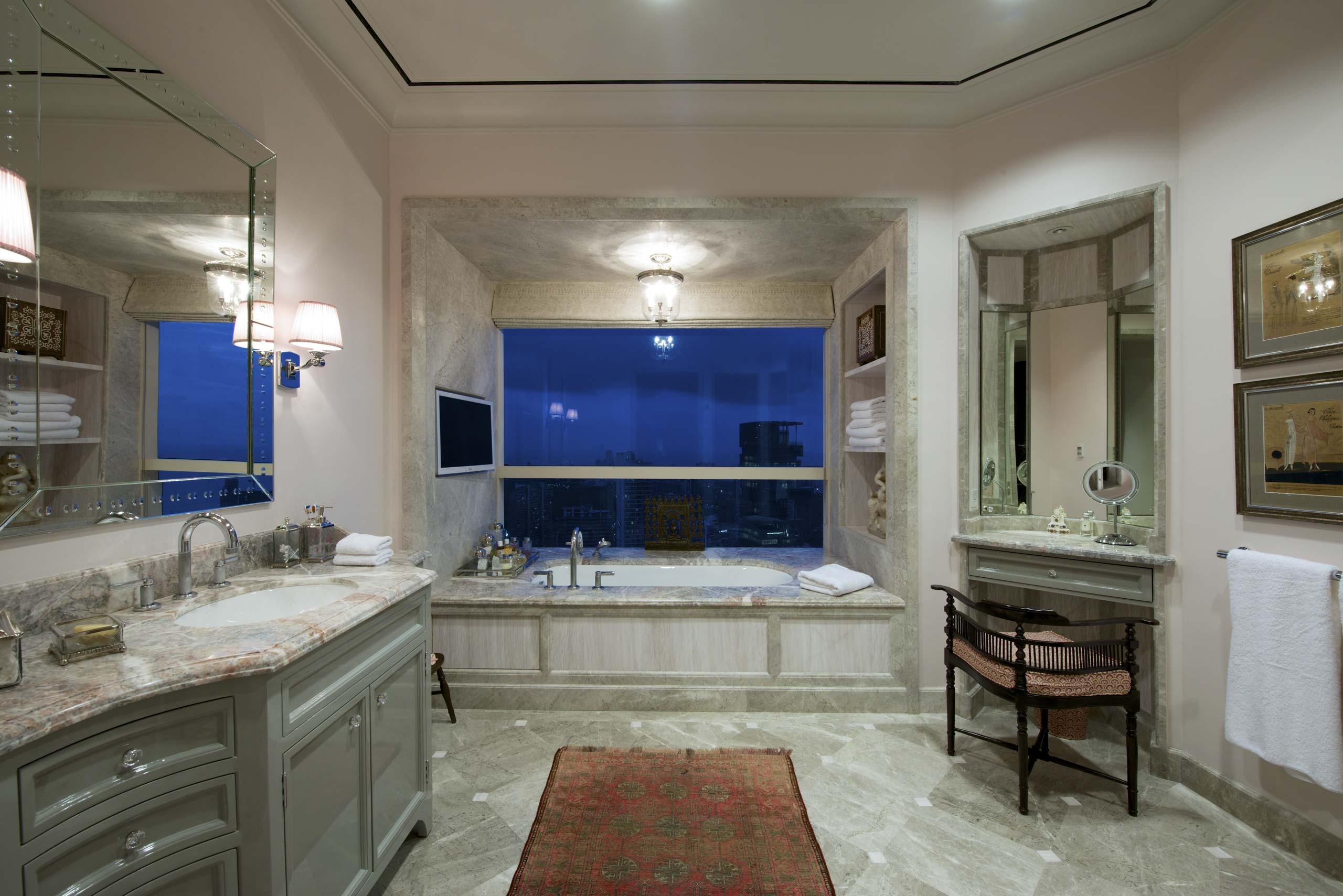 Marble Bathroom in Mumbai at duplex apartment interior design mumbai india
