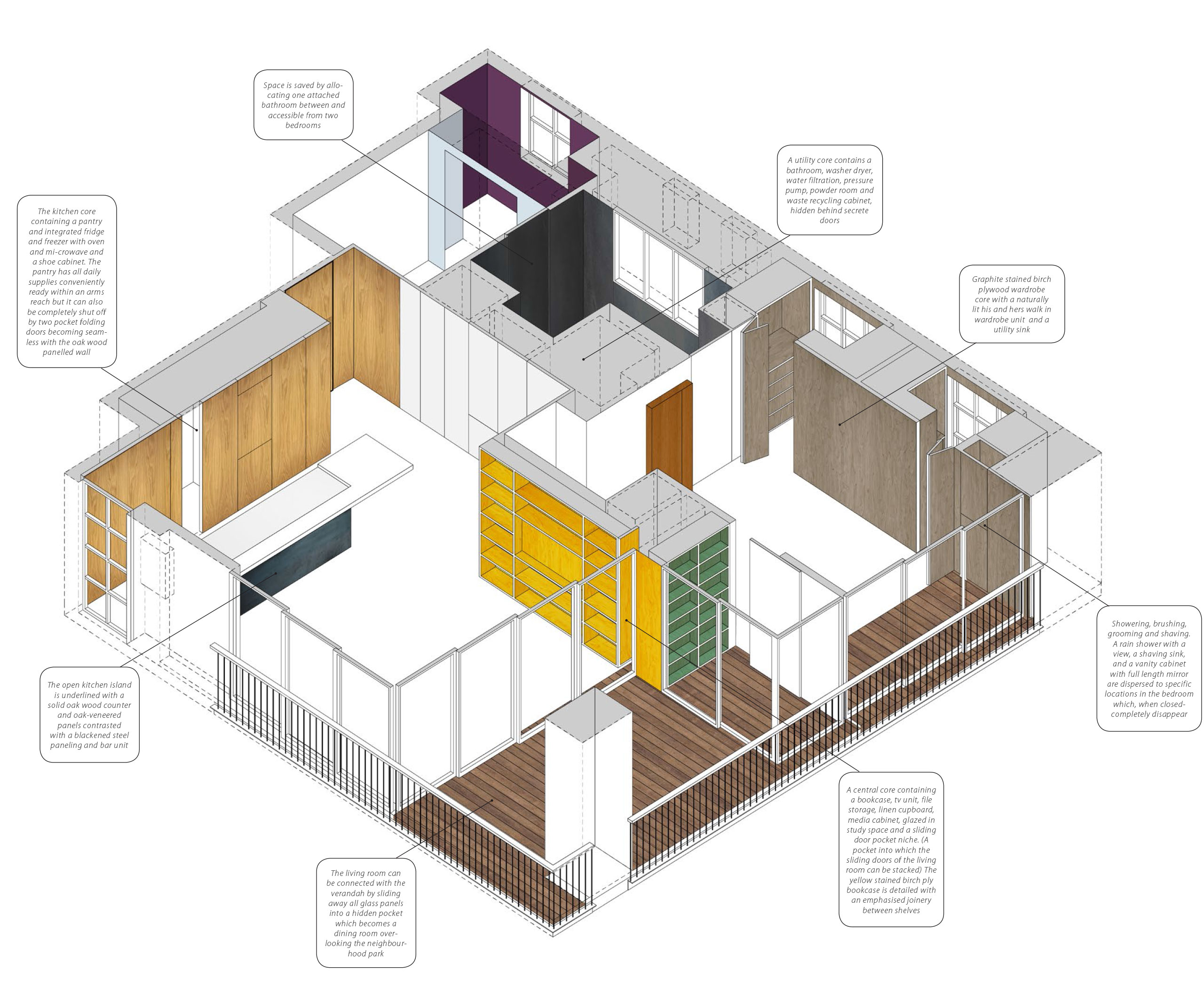axonometric apartment interior design