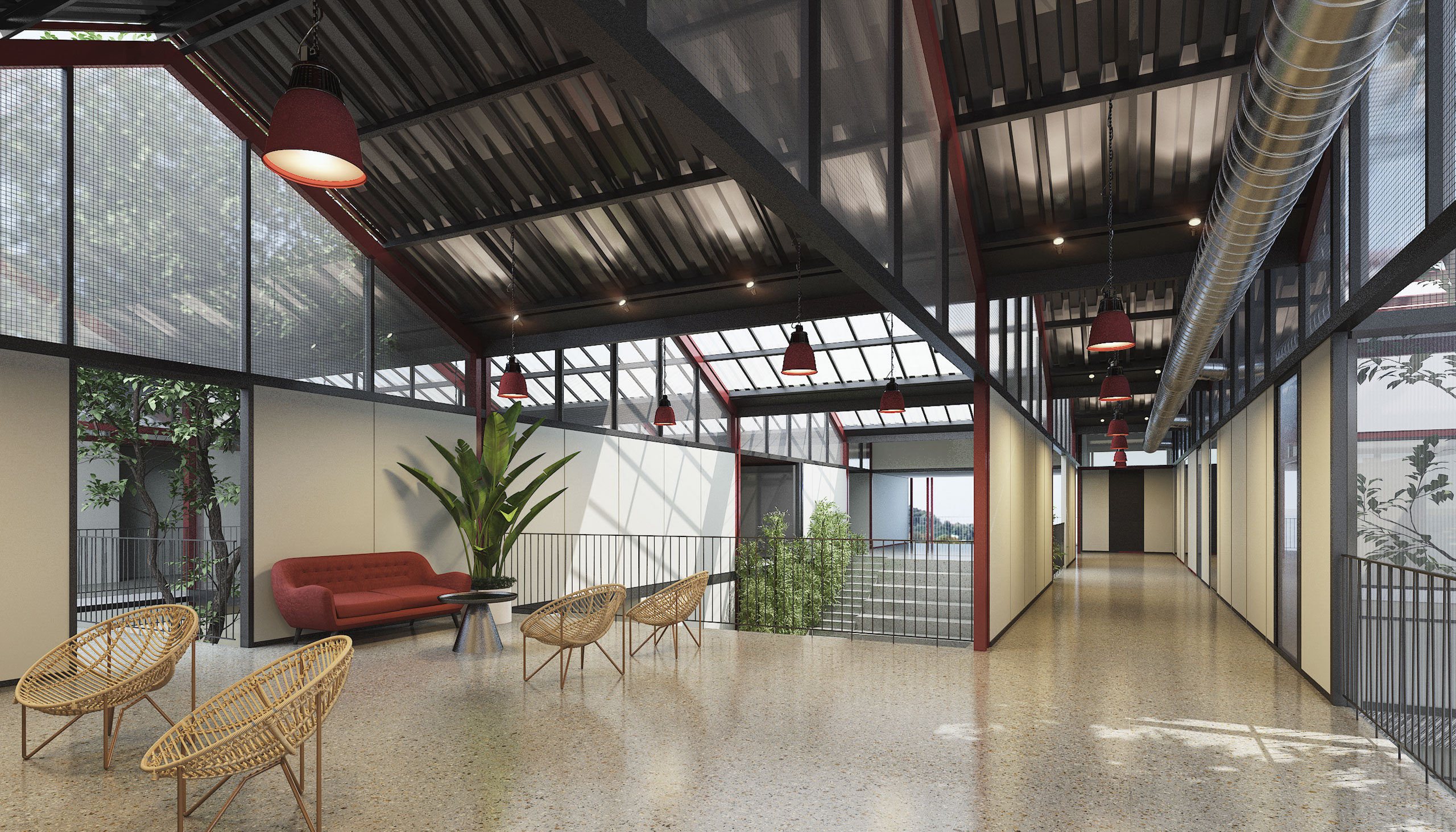 Courtyard under Industrial roof of Administration Building in Latur, India
