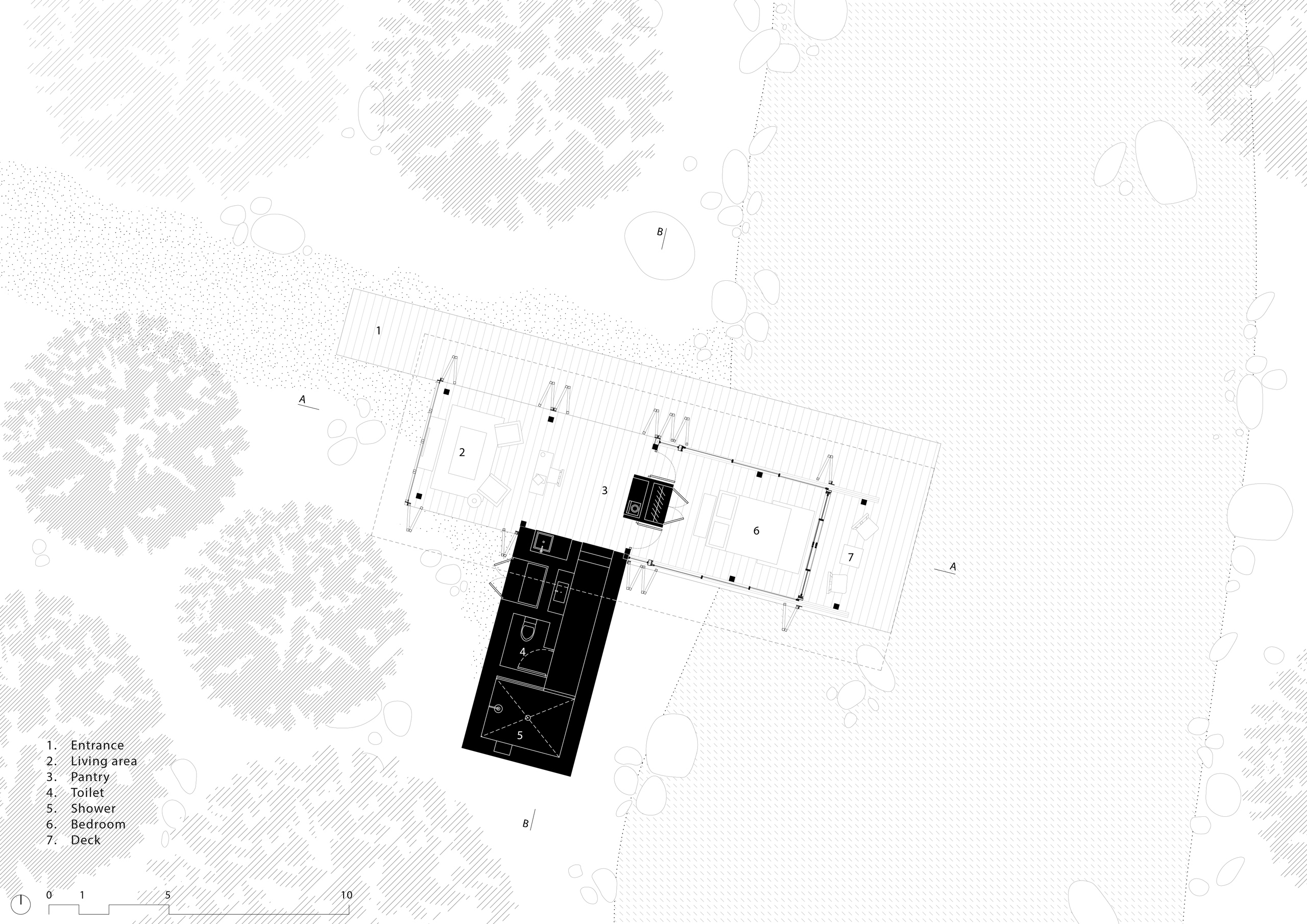 Floor plan of cabin of Sustainable Forest Eco Resort Andhra Pradesh