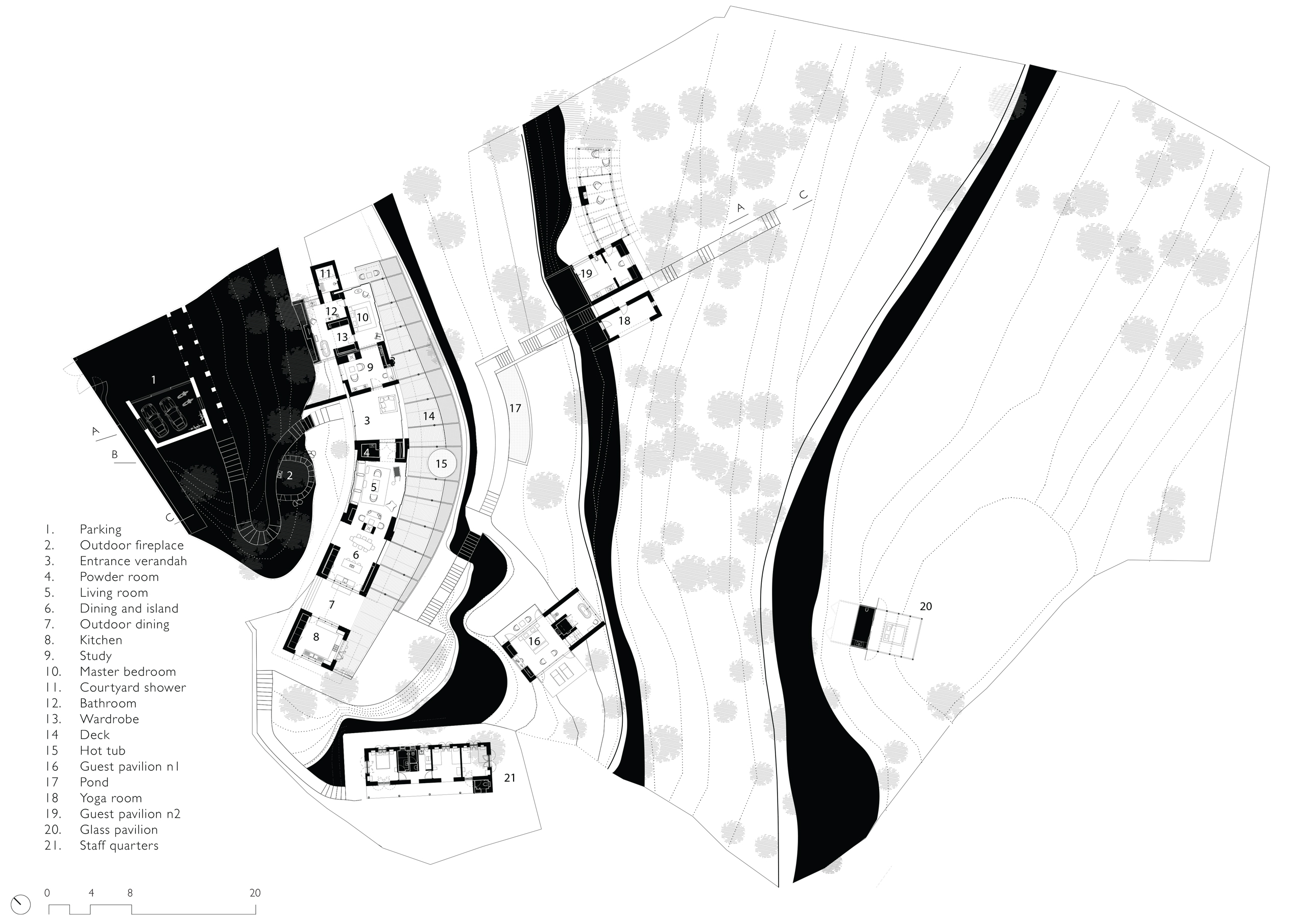 Floor Plan of Himalayan Mountain Retreat in Mukteshwar