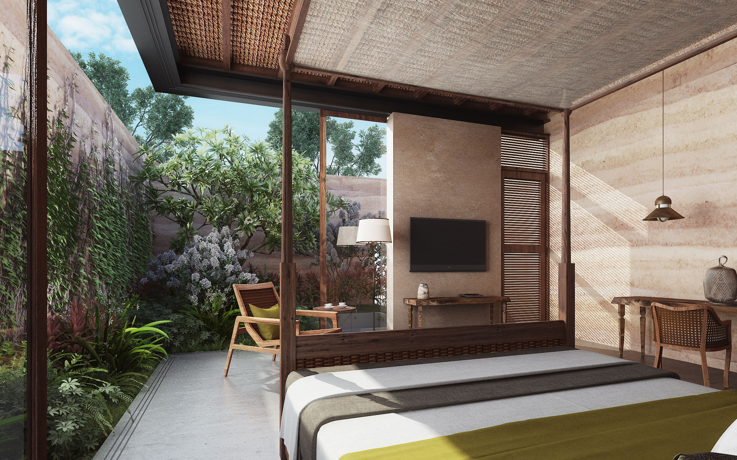 Mandwa Resort - Guest Bedroom and Courtyard