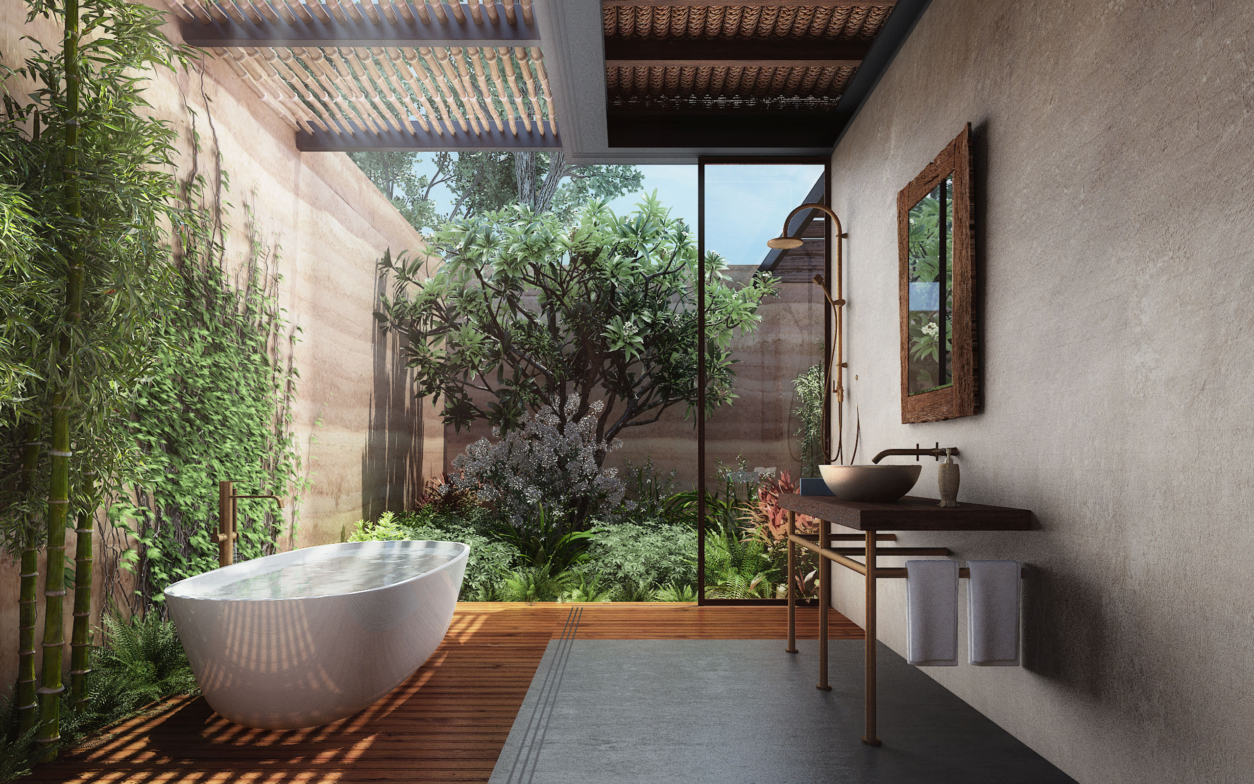 bathroom and Courtyard - Wellness Centre