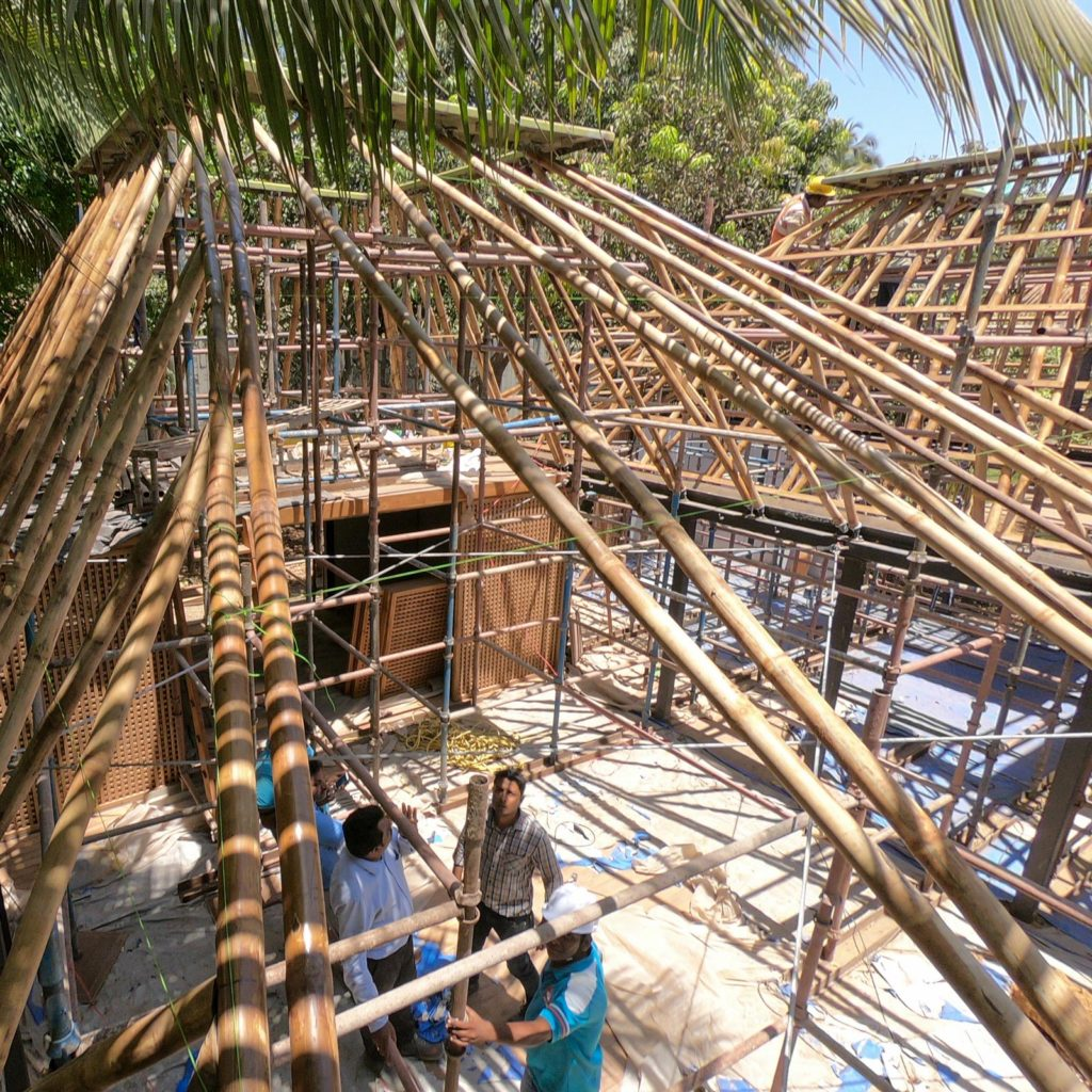 bamboo roof structure at Mumbai Artist Retreat
