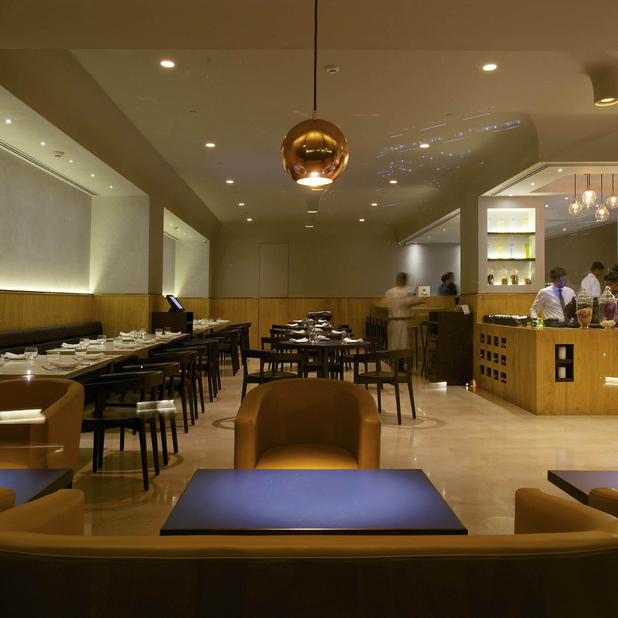 Restaurant interior seating area