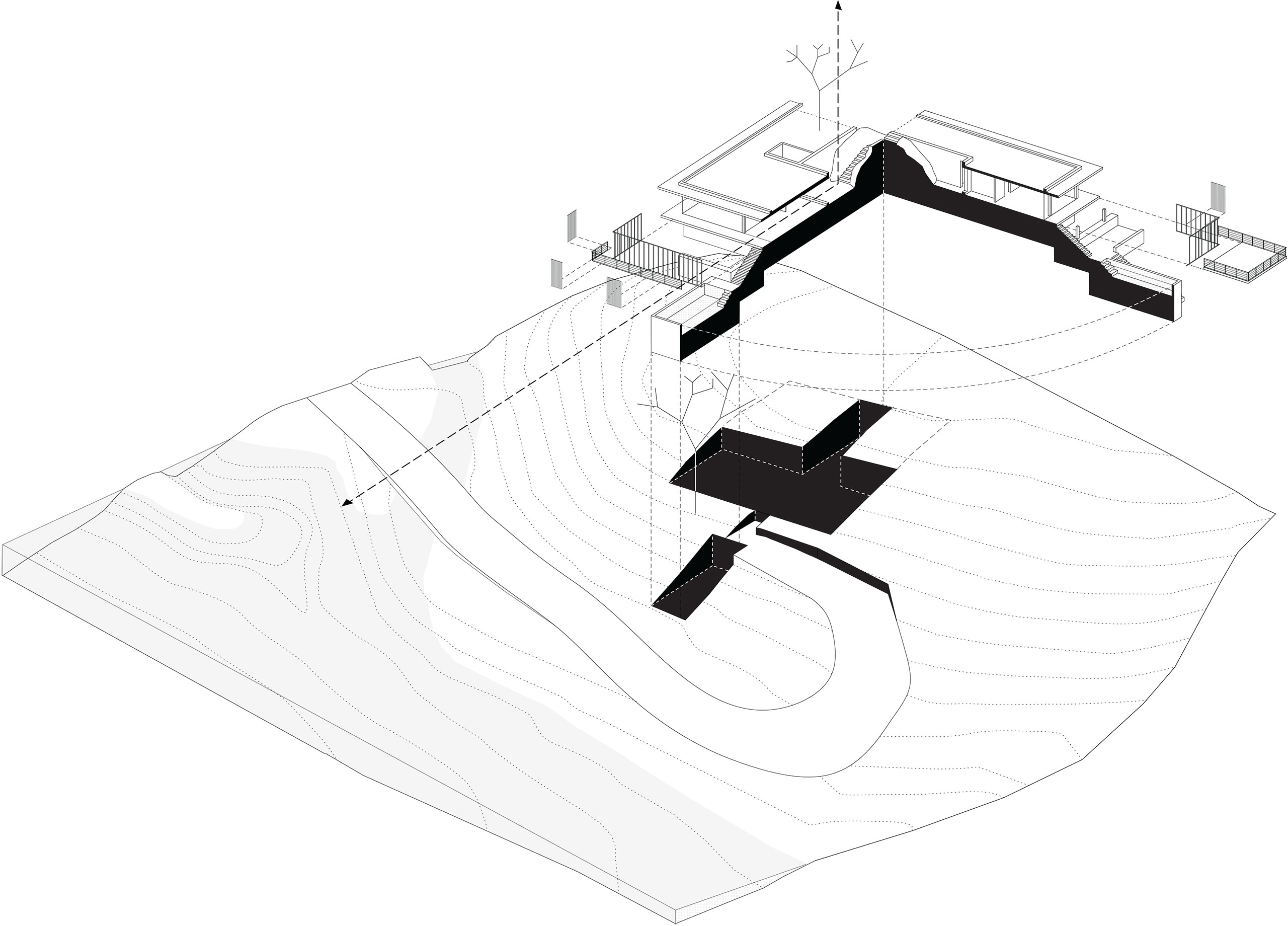 Riparian House sectional axonometric