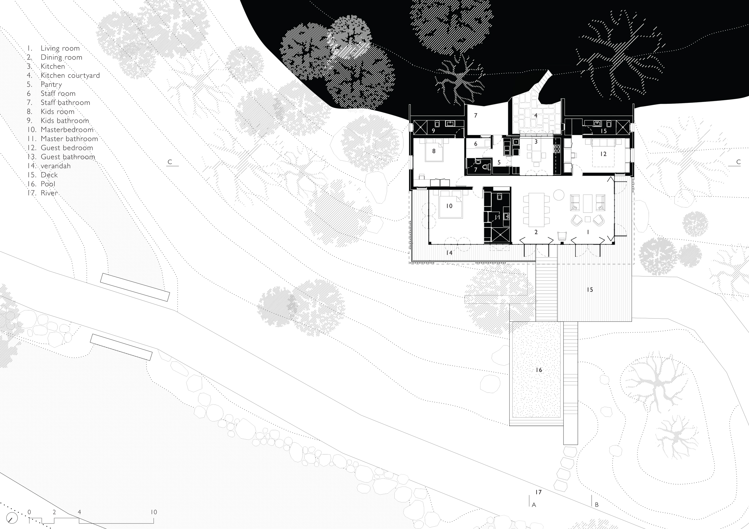Floor plan of the Riparian House in Karjat, Mumbai