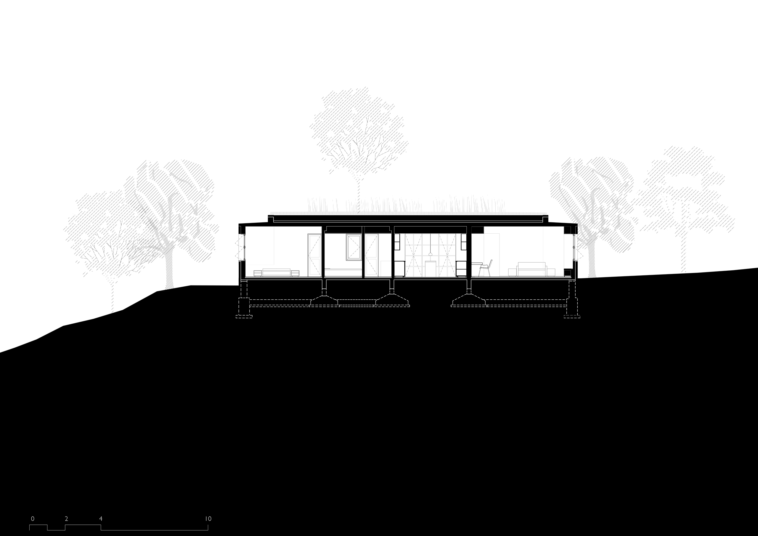 Section of the Riparian House in Karjat, Mumbai