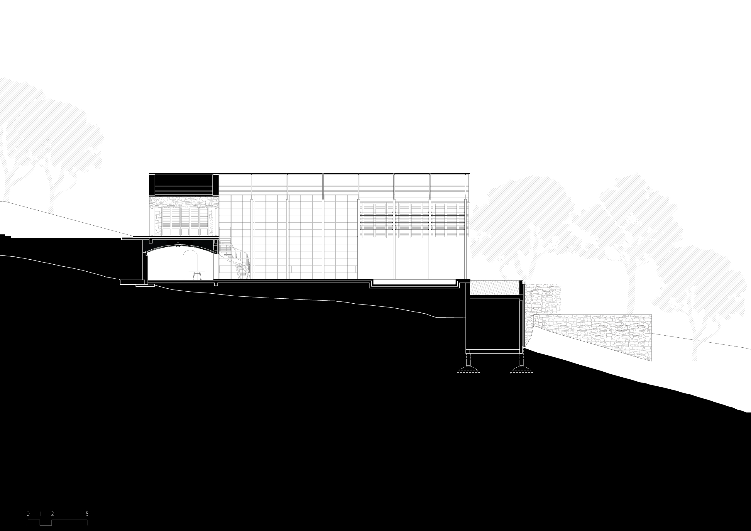 Section Drawing AA of Plantation Retreat Alibaug