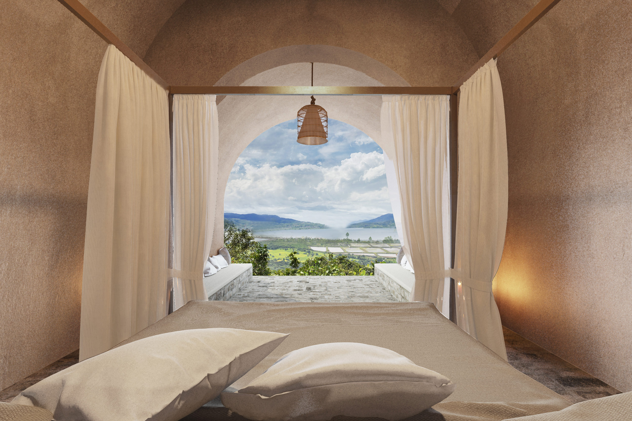 four poster bed with view cave homes alibaug