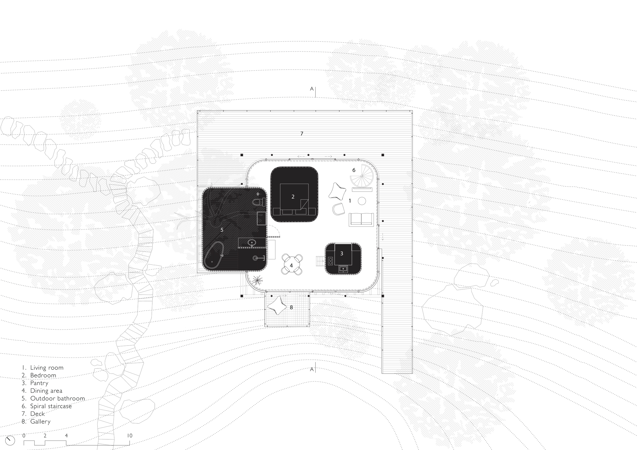 Floor plan of Tala Treehouse, India
