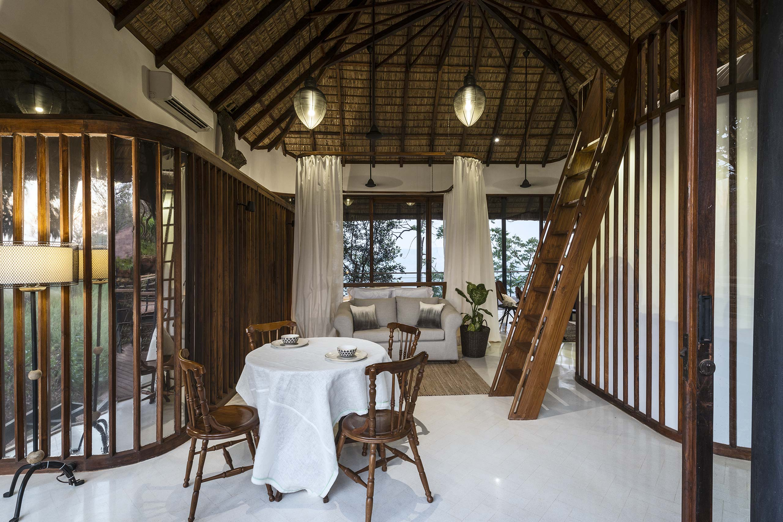 tala treehouse villa sitting area alibaug india