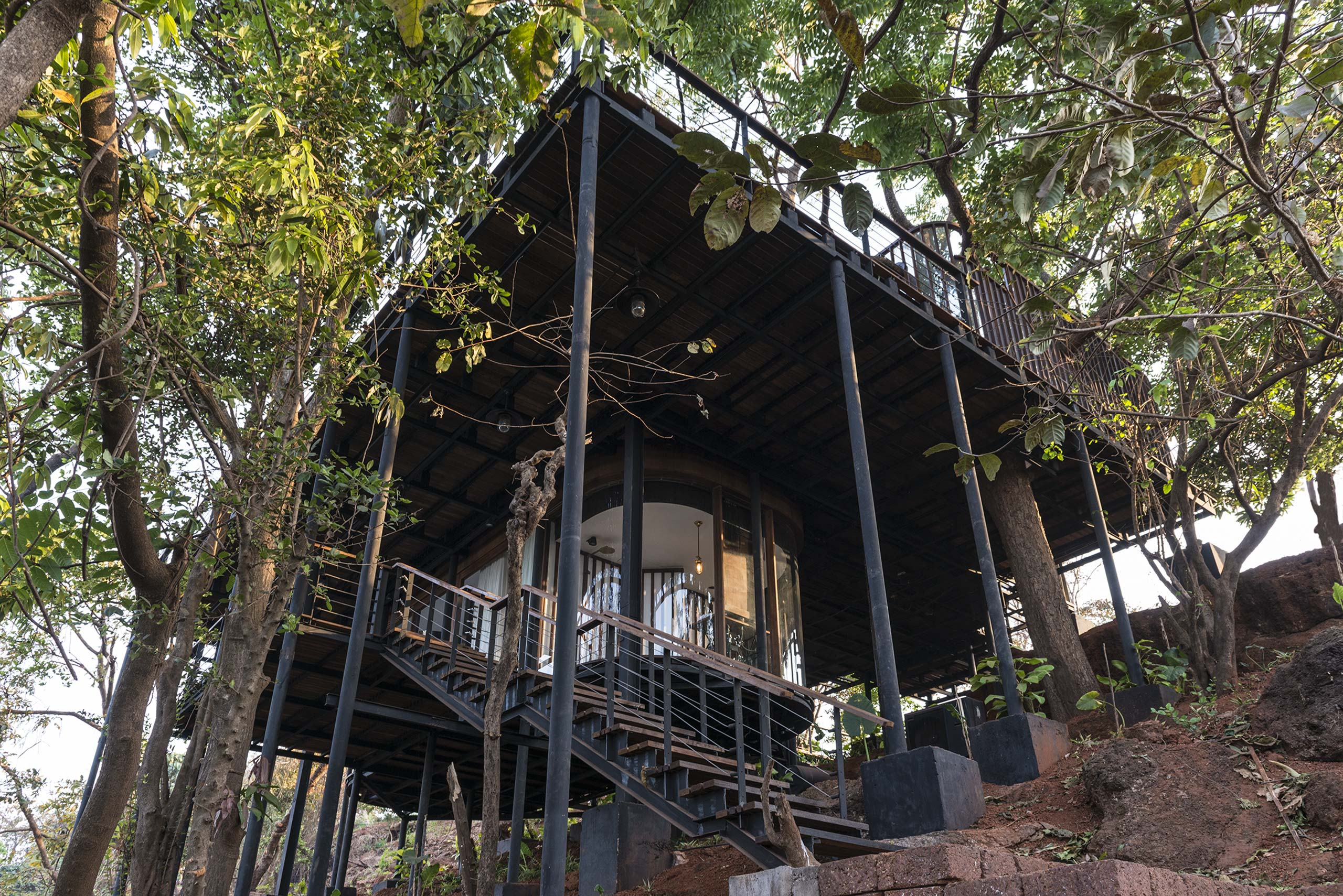 treehouse columns at tala treehouse villa alibaug india