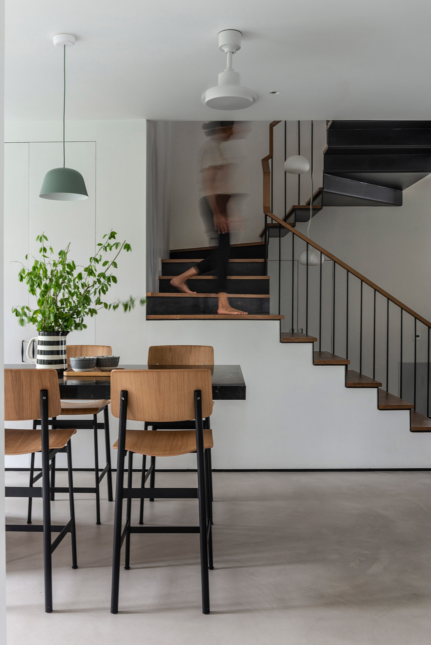 Island Kitchen with Folded Steel Staircase