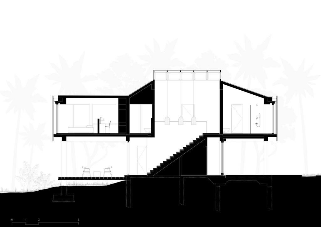 House in a Beach Garden - Section with Staircase and Skylight