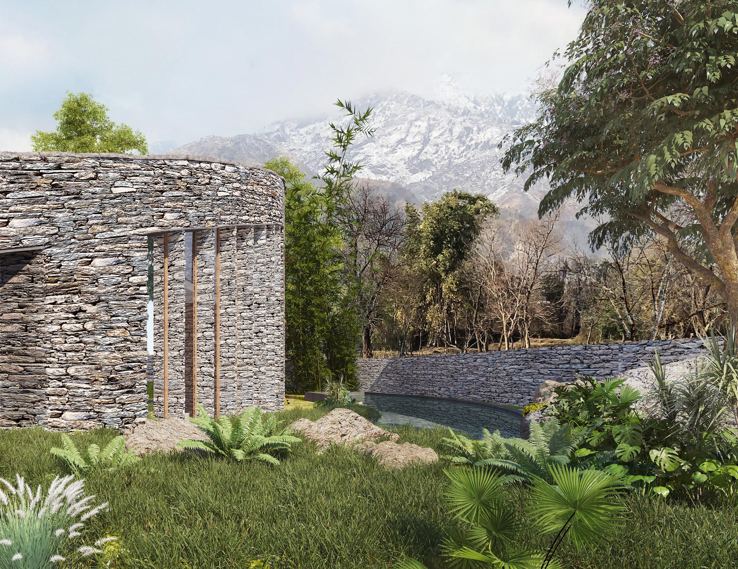 curved stone wall and swimming pool in Dharamshala