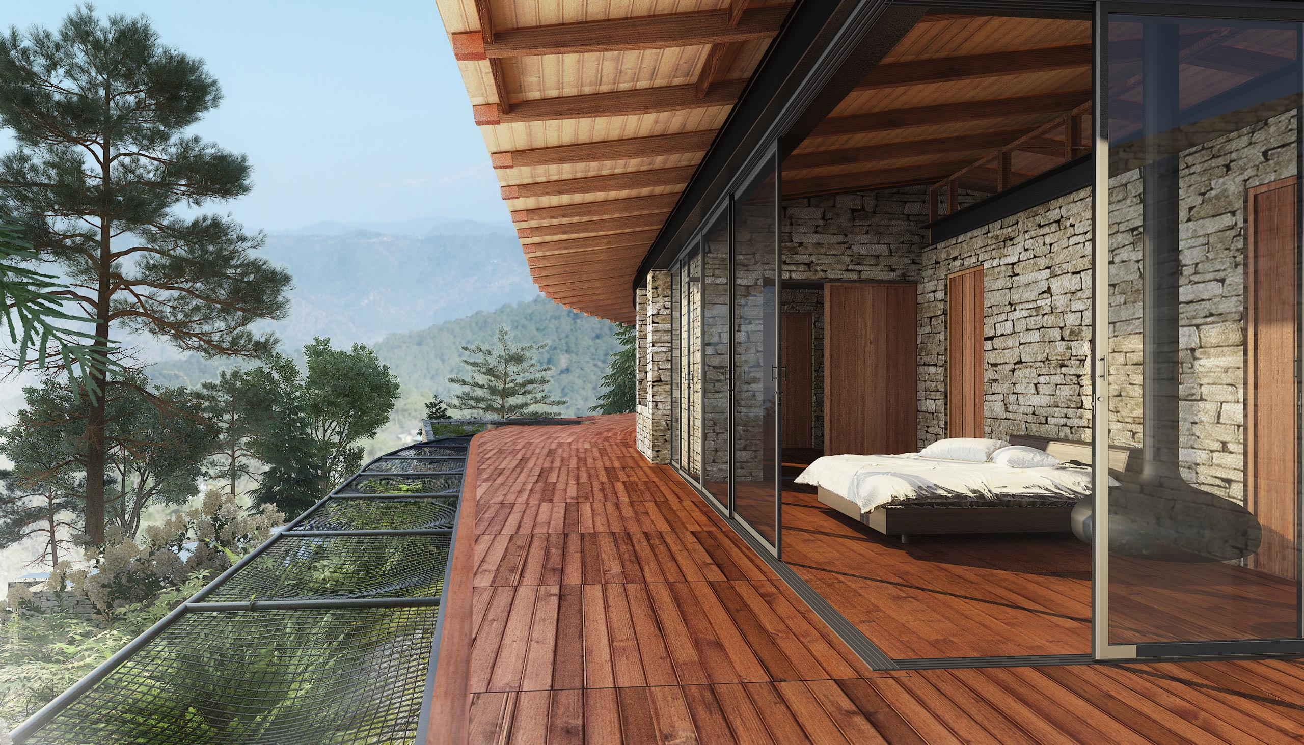 panoramic view from the bedroom mountain home Uttarakhand