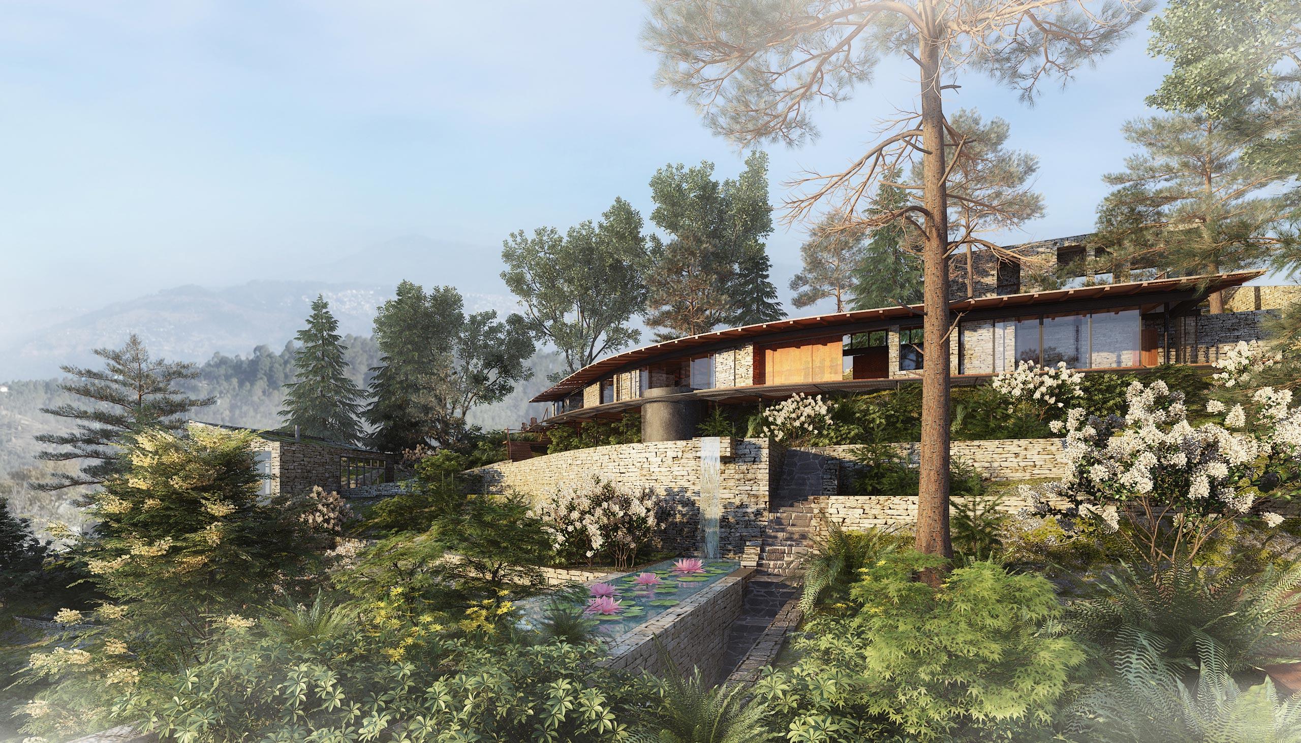 mountain home green roof Uttarakhand