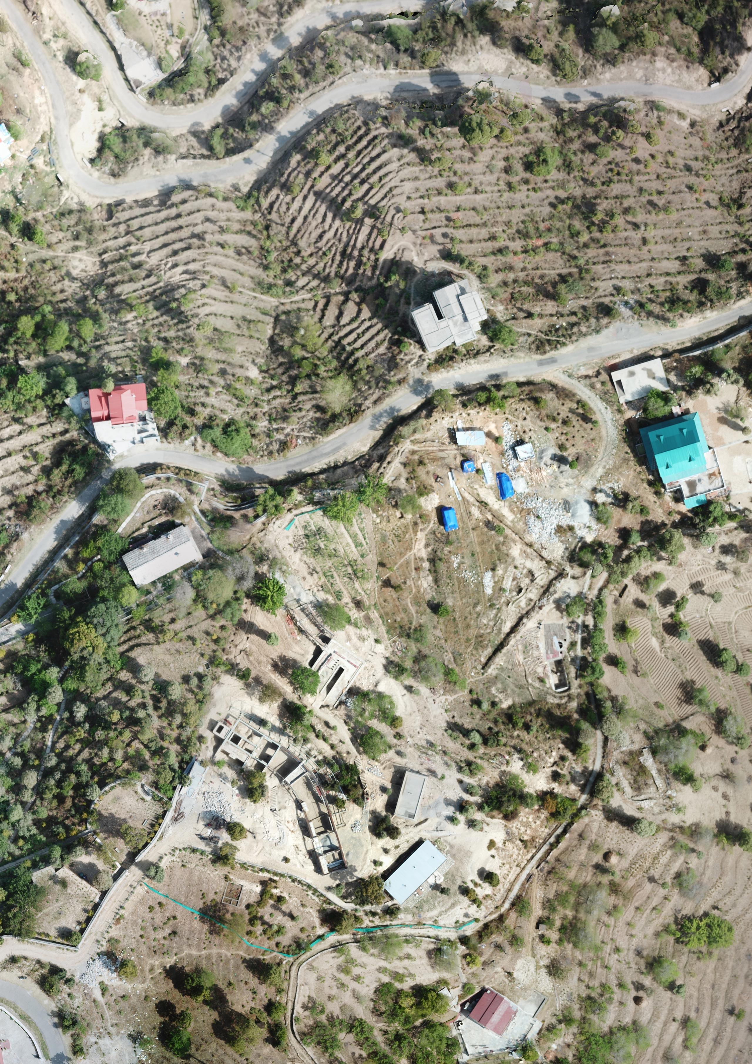 Mountain home aerial view Uttarakhand