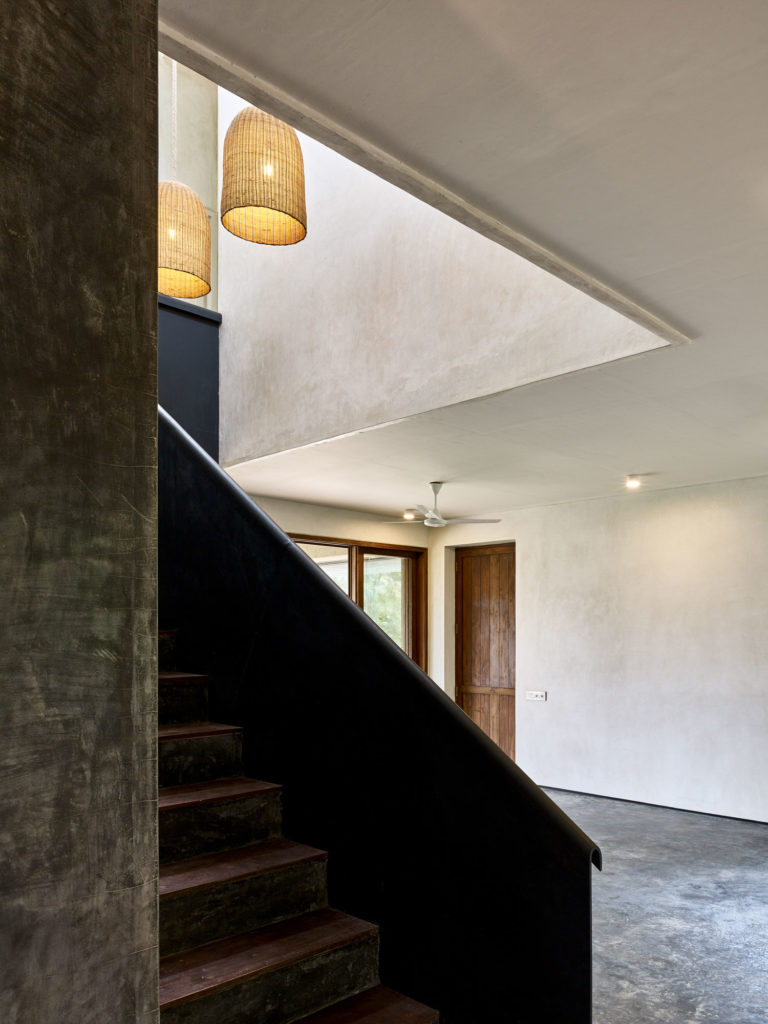 Staircase and Skylight with folded Steel Plate