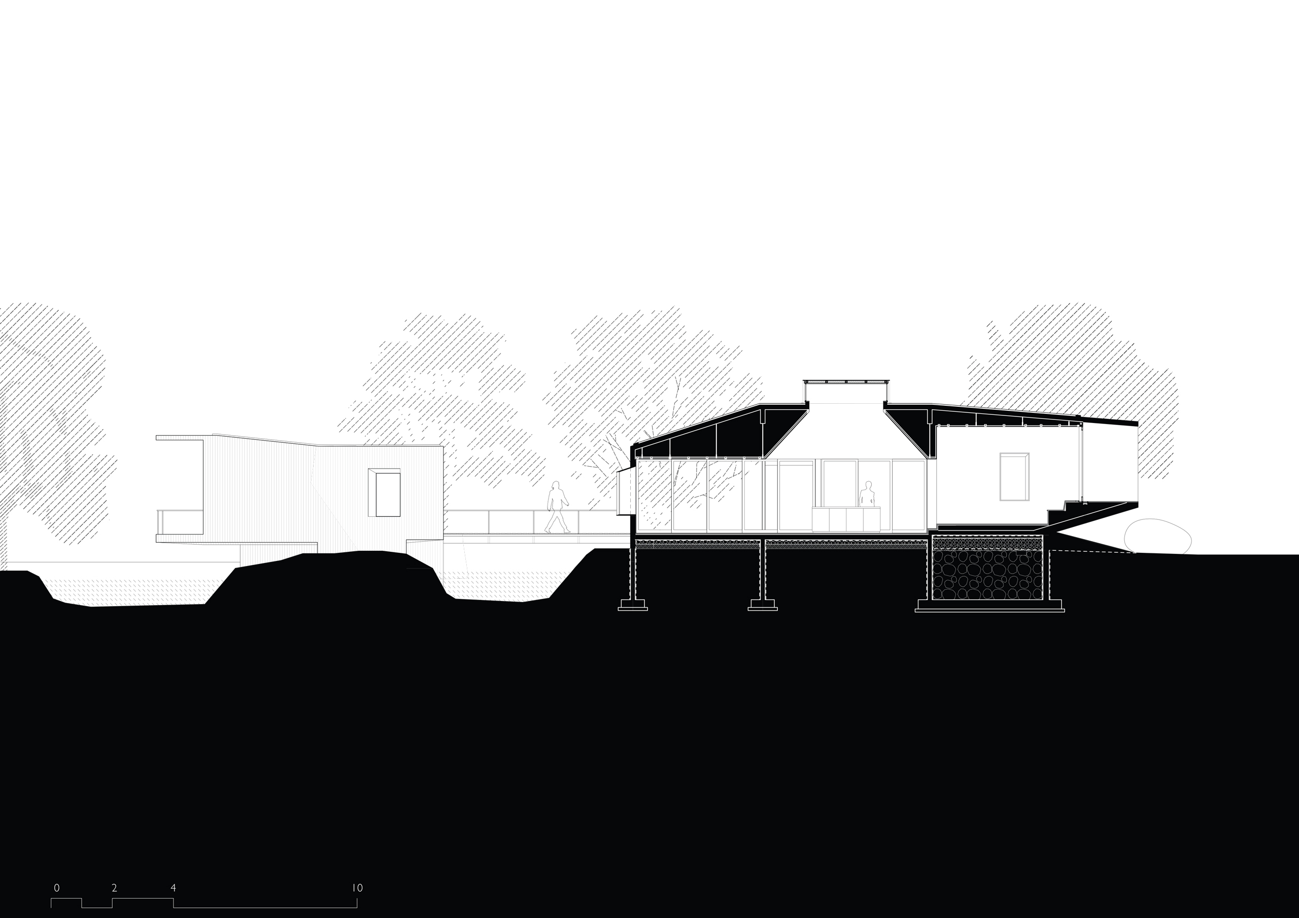 architectural Drawing Section House on a Stream in Alibag, India