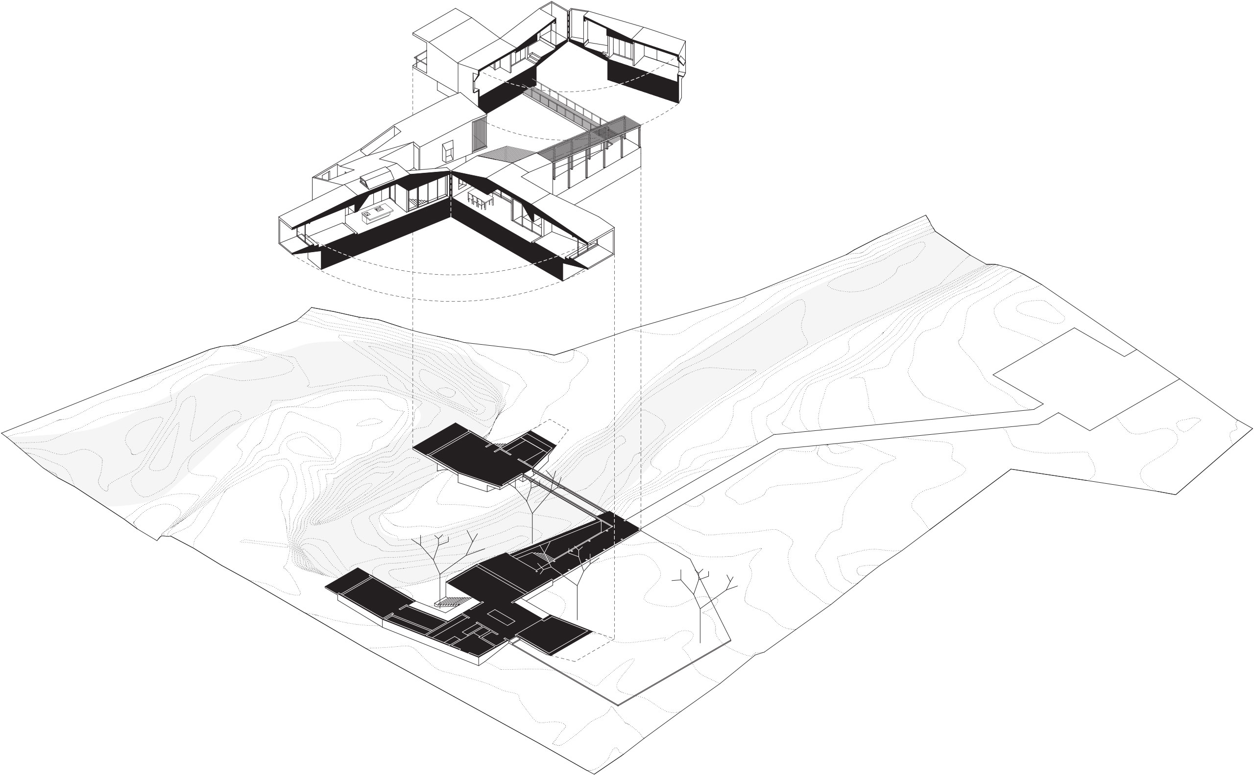 house on a stream sectional axonometric