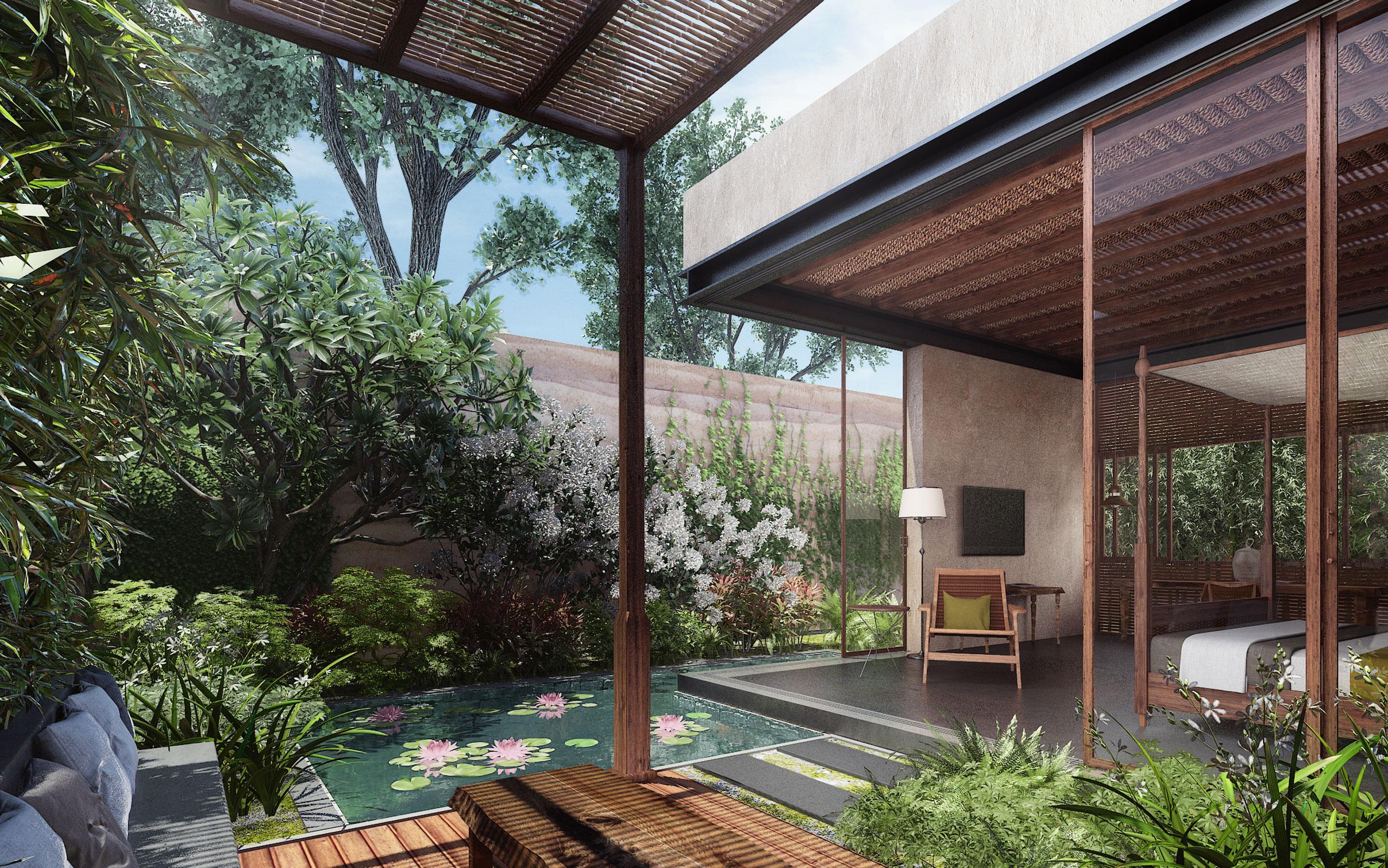 Mandwa Resort - private pool and Courtyard