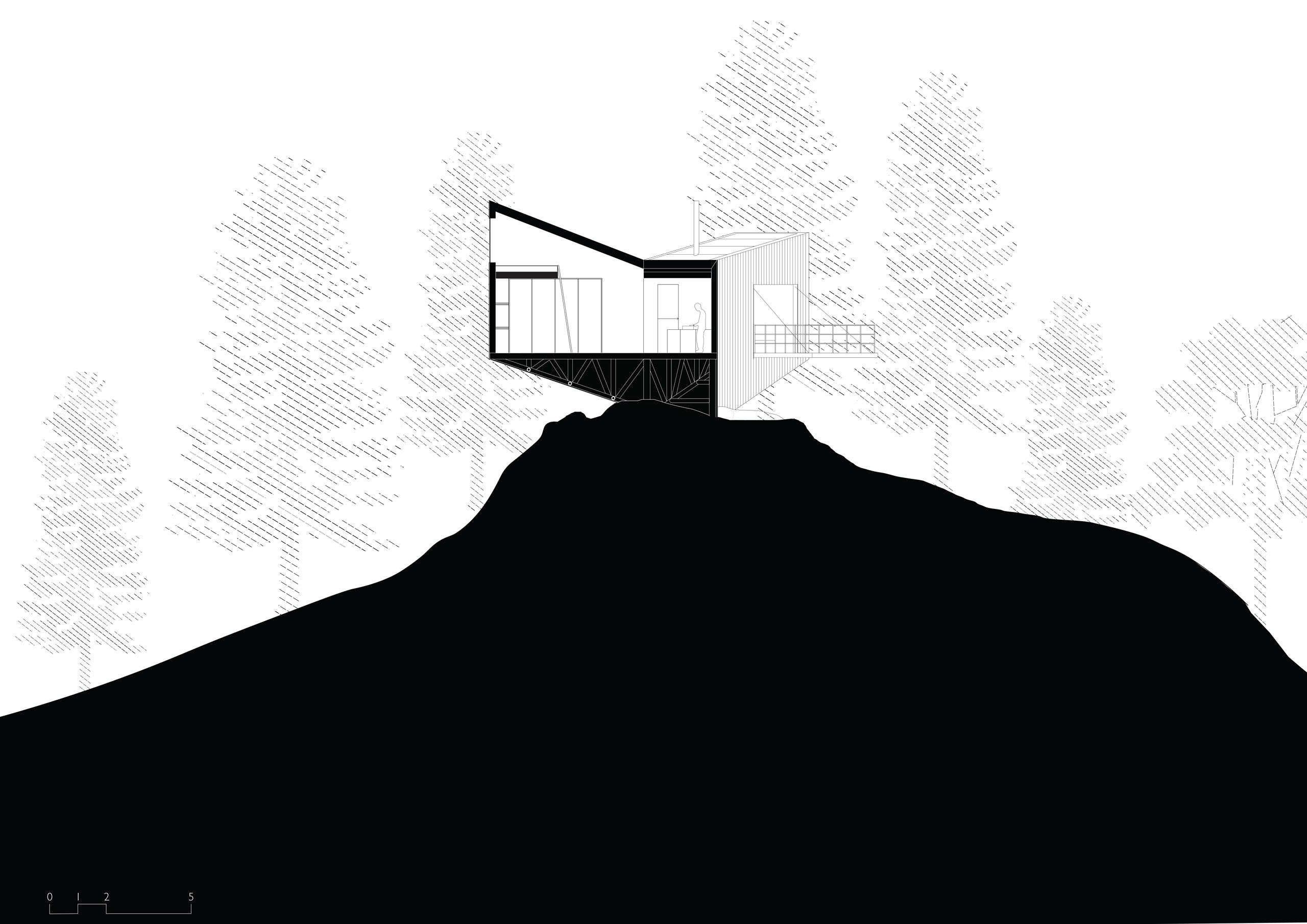 Section drawing - Himalayan Mountain Cabin