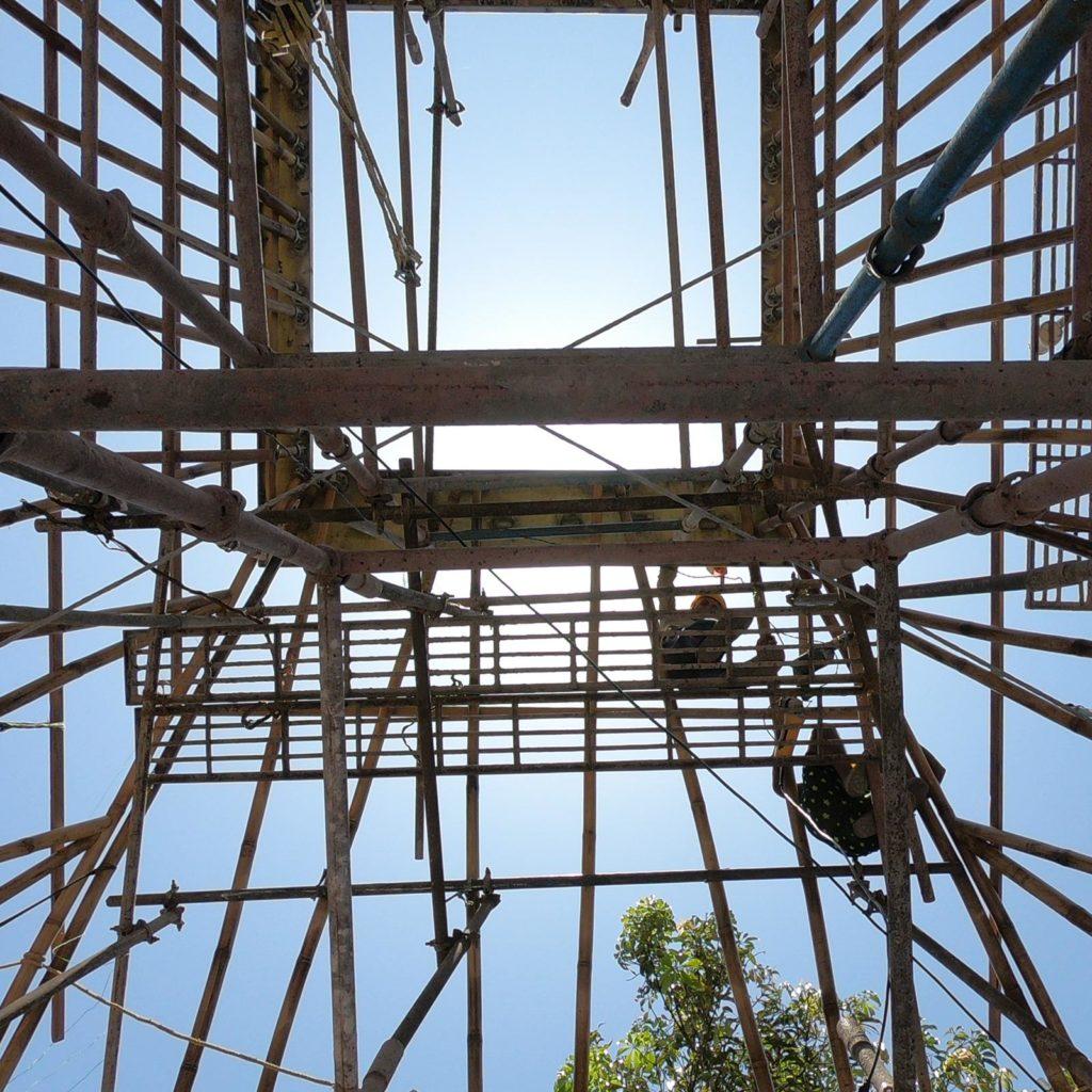 bamboo roof structure at Mumbai Artist Retreat