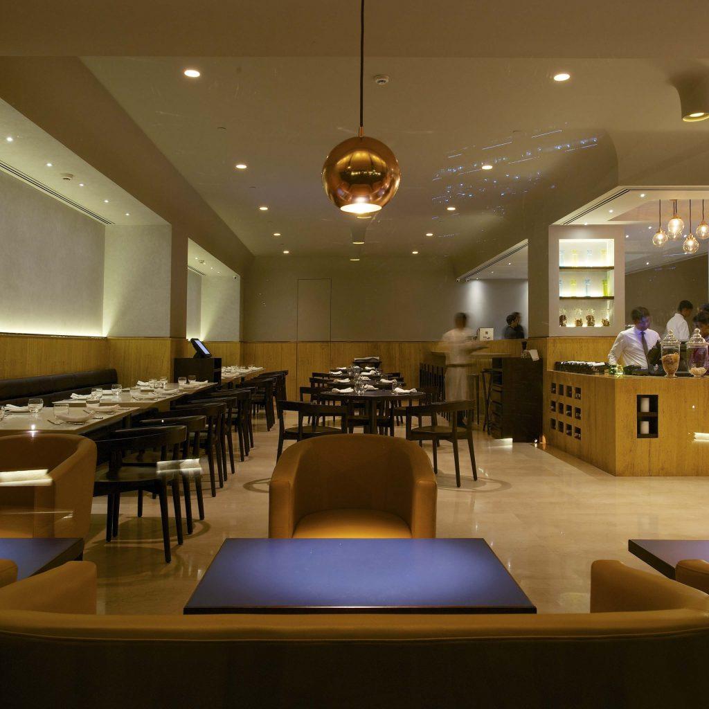 Restaurant interior seating area