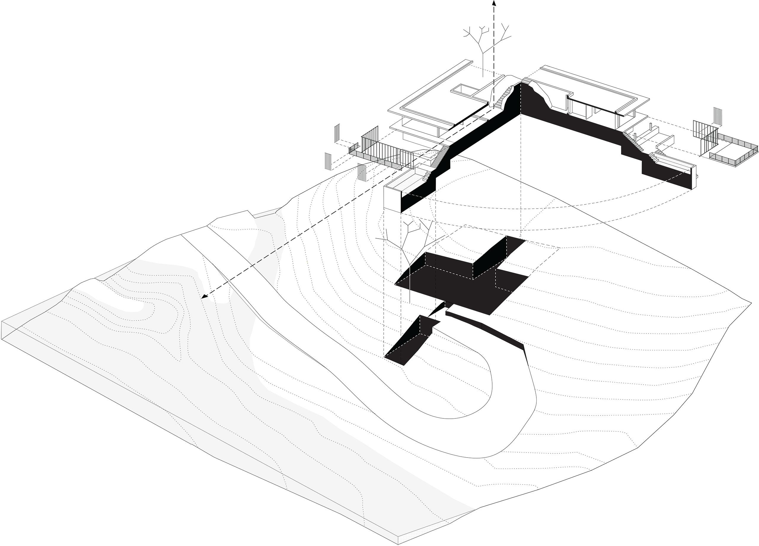 Riparian House sectional axonometric