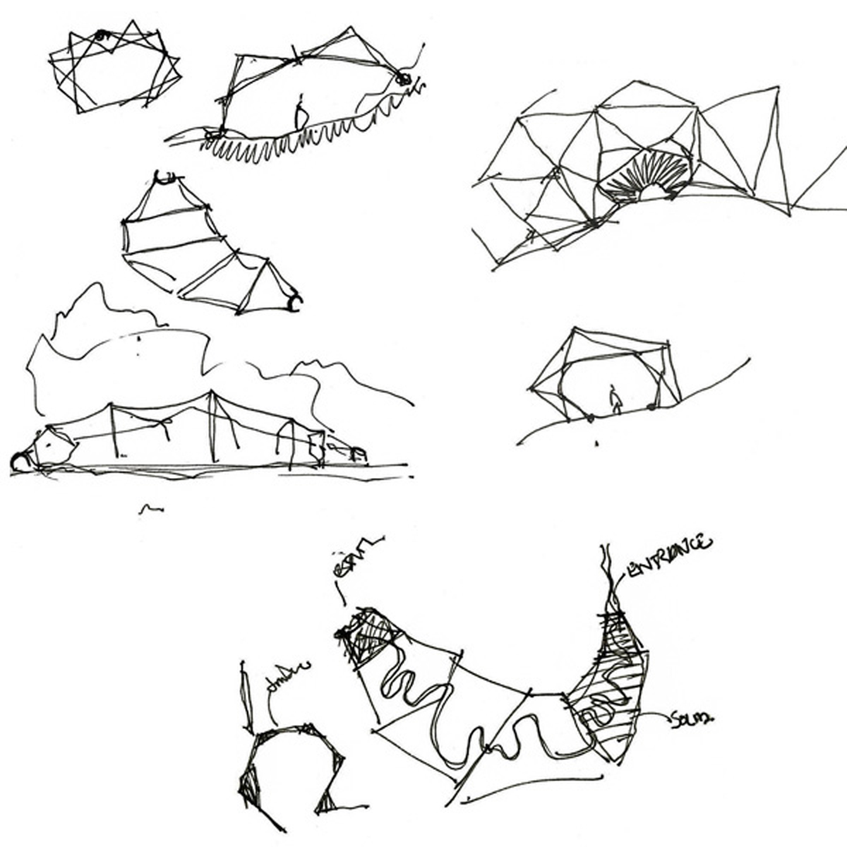 Sketches of enclosures at Sikkim Butterfly Reserve