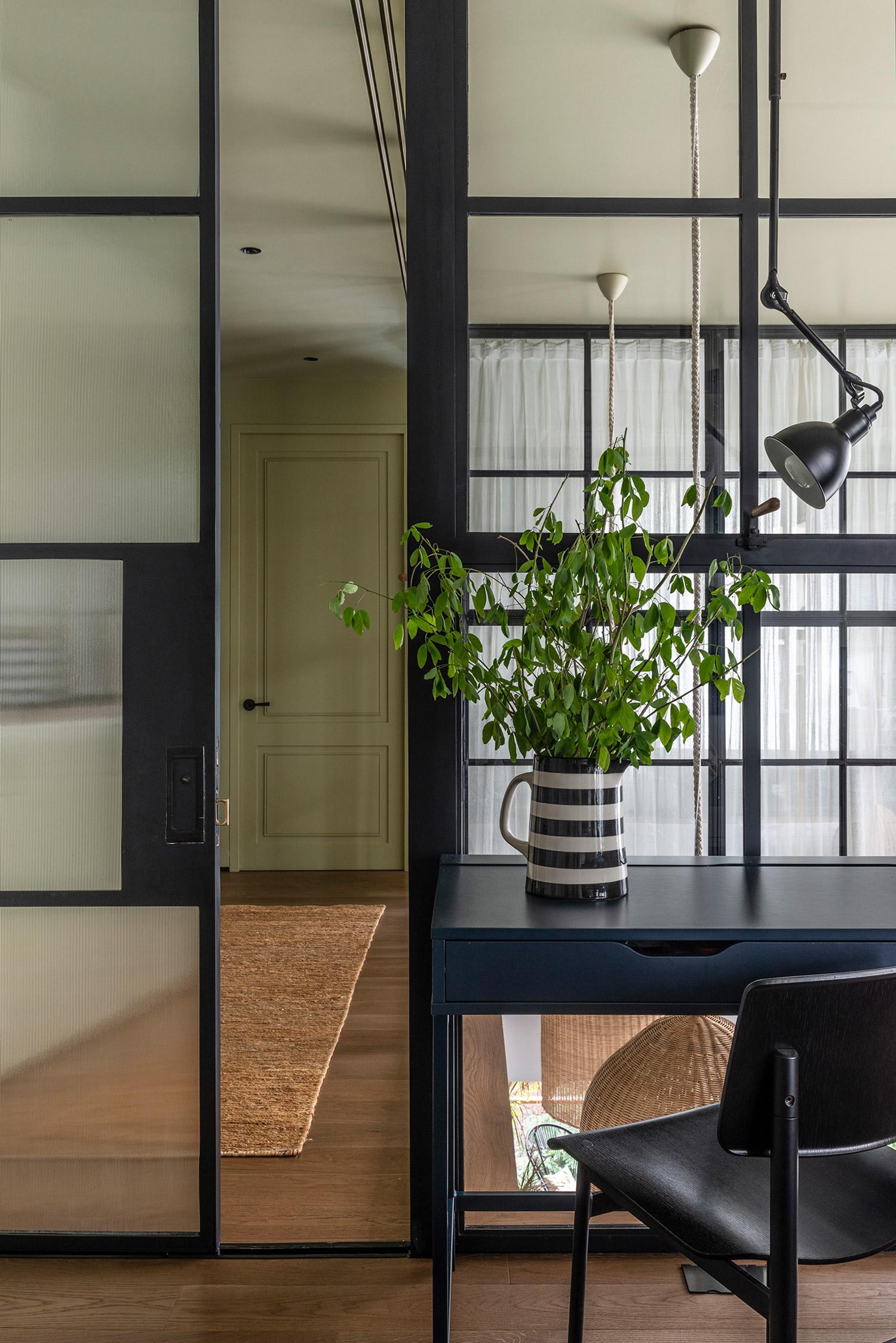 Steel sliding door with timber floor