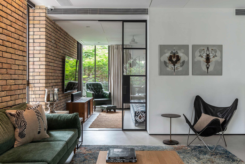 Yellow Brick wall and living room lounge