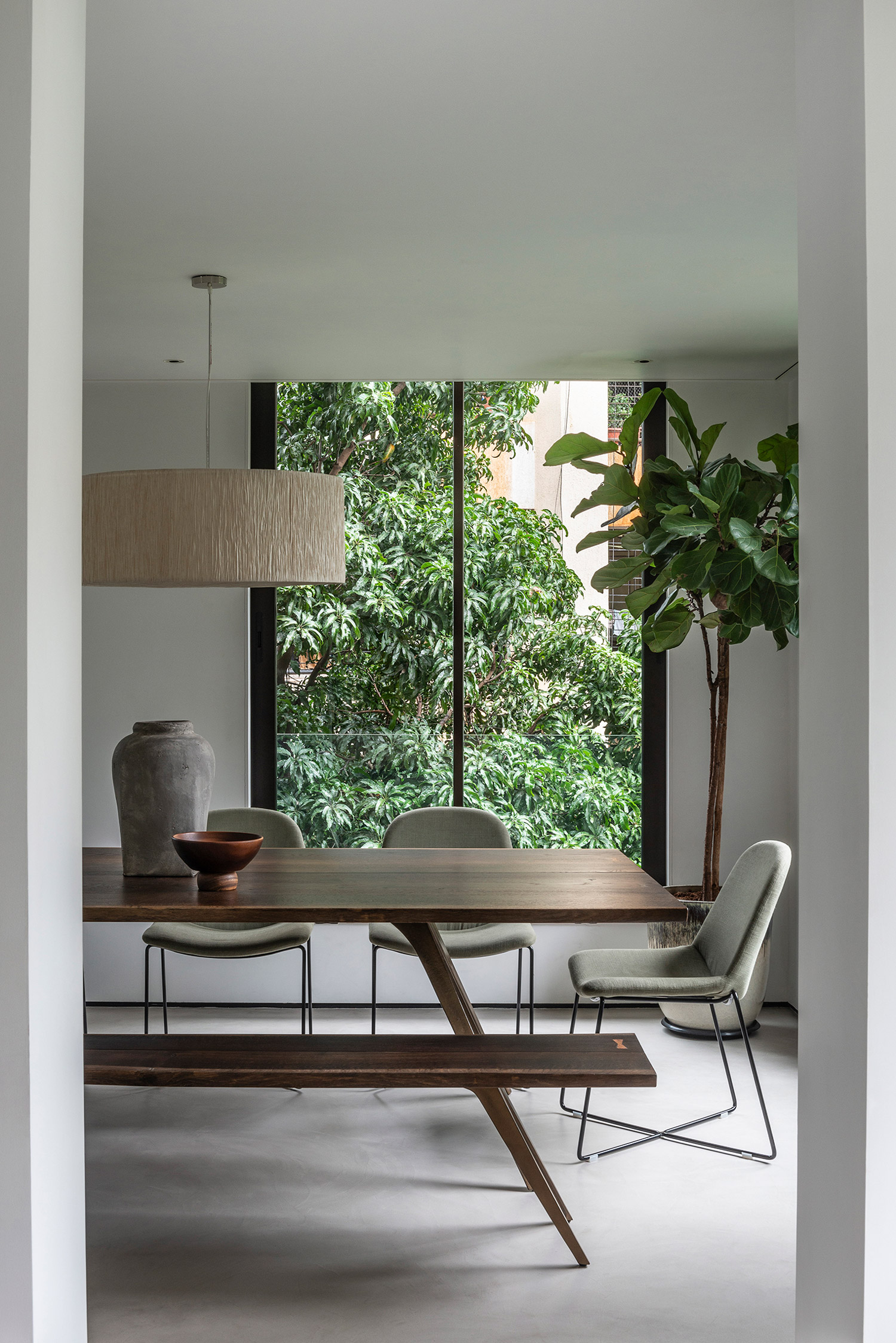 Dining table and bench with tapered legs