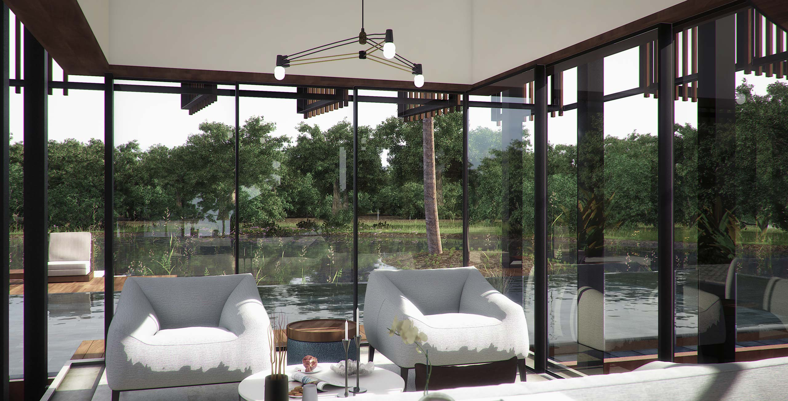 living room next to pool Waikiki Wetland Resort