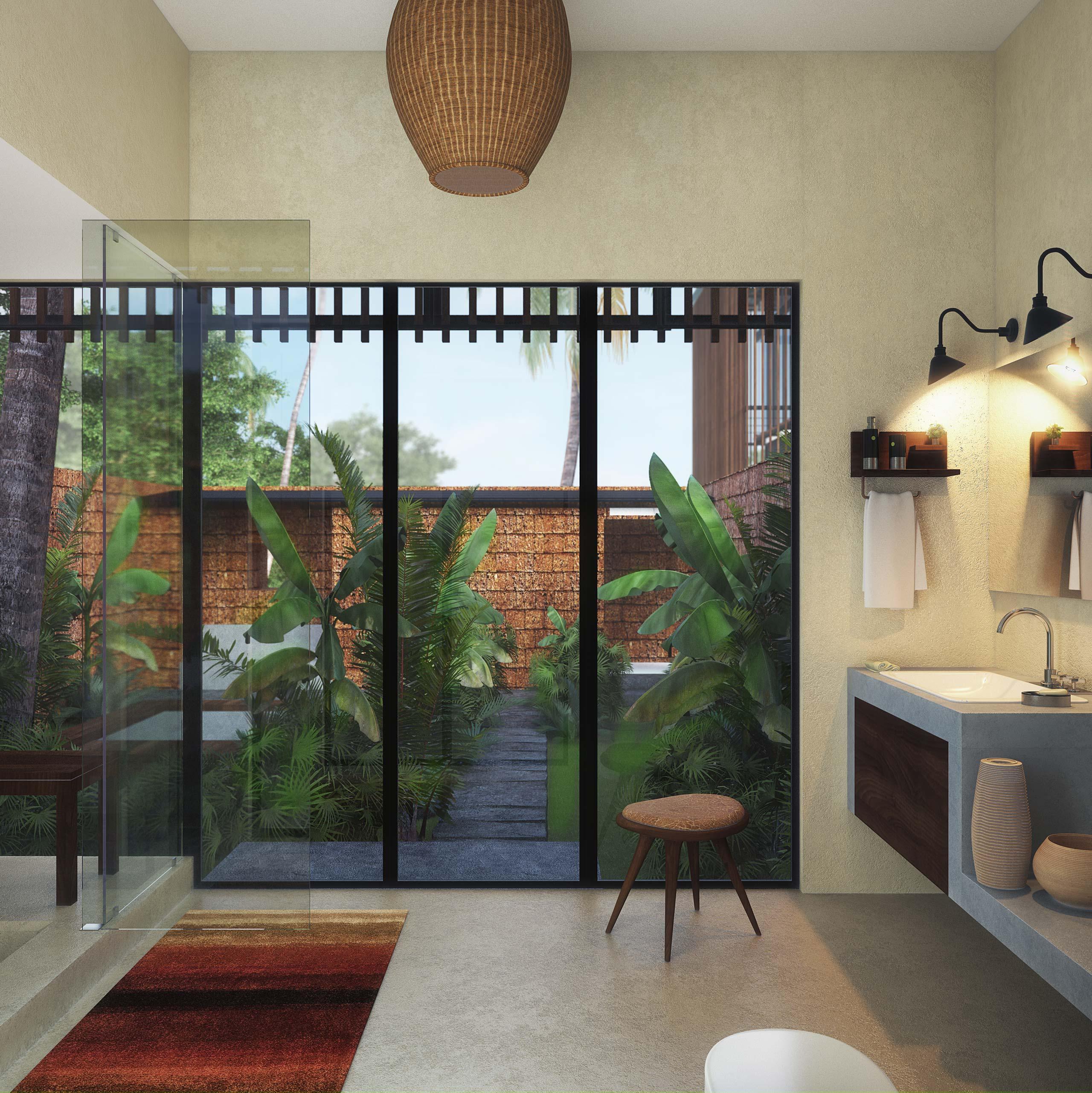 Outdoor Courtyard Bathroom Waikiki Wetland Resort